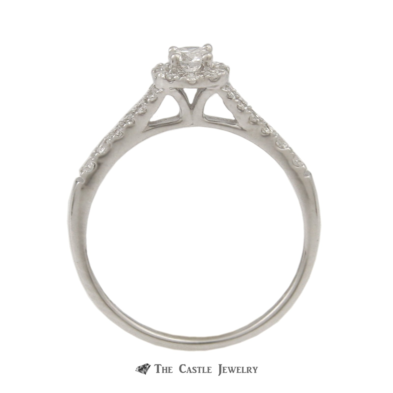 Crown Collection 1/2cttw Bridal Set with Round Diamond Center & Diamond Halo in 14k-1