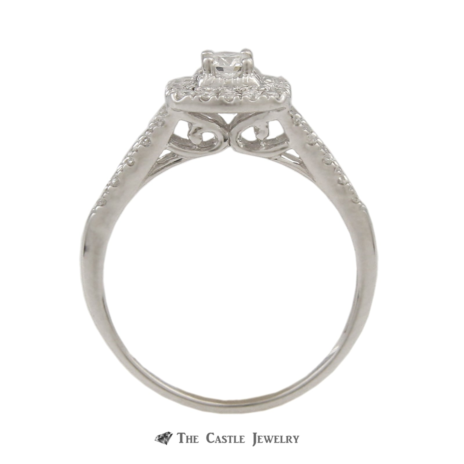 SPECIAL! Crown Collection .50cttw Bridal Set w/ Round Diamond Center & Cushion Shaped Bezel in 14k-1