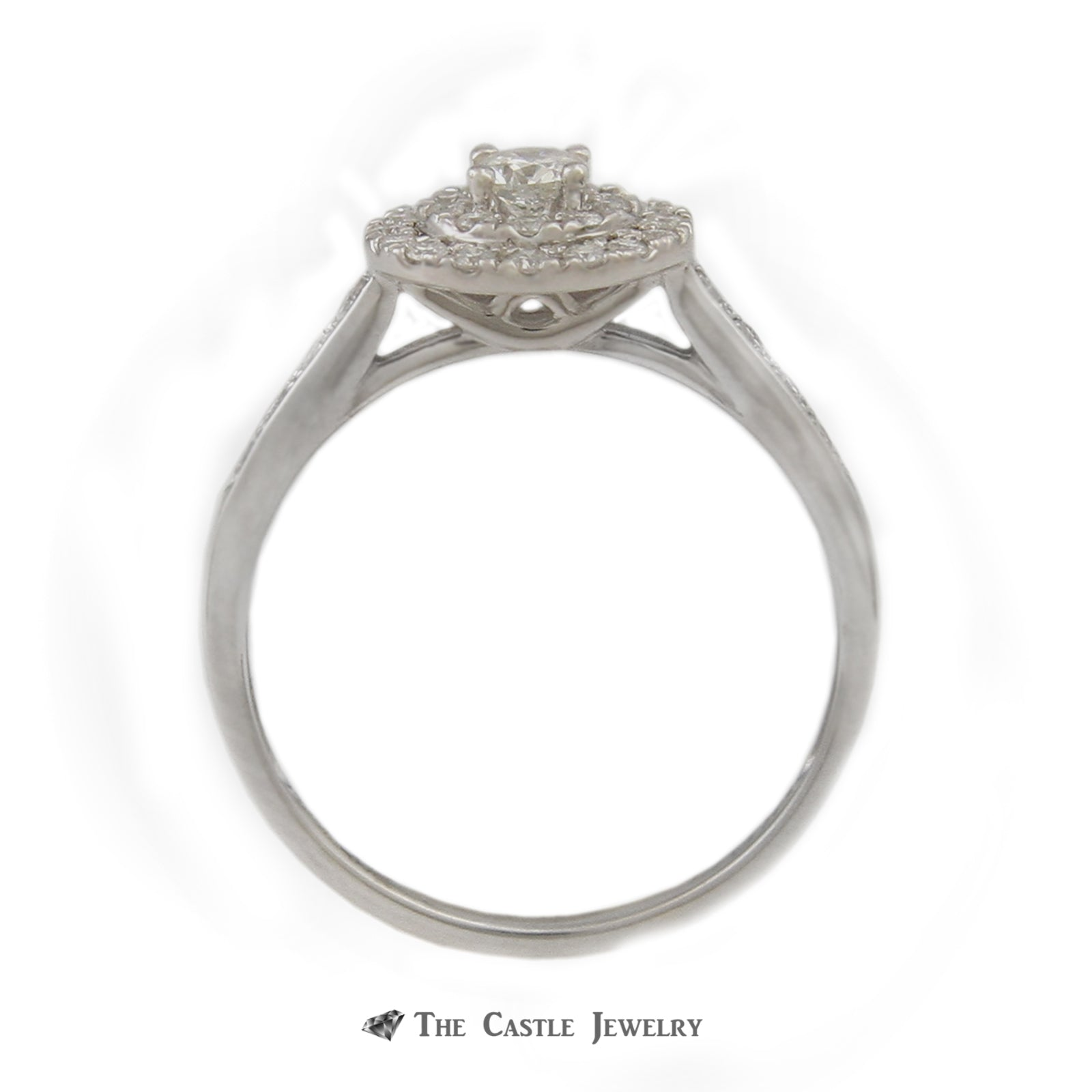 SPECIAL! Crown Collection .50cttw Bridal Set w/ Round Diamond Center/ Double Diamond Halo in 14k-1