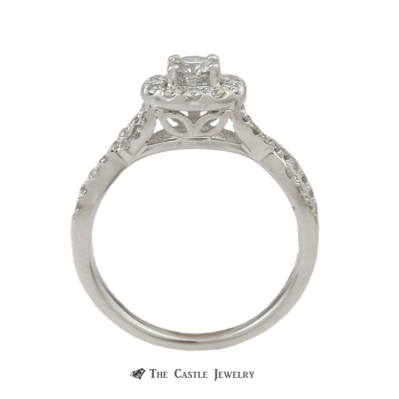 SPECIAL! Crown Collection 1cttw Bridal Set Round Diamond Center w/ Diamond Bezel & Cross Over Sides-1