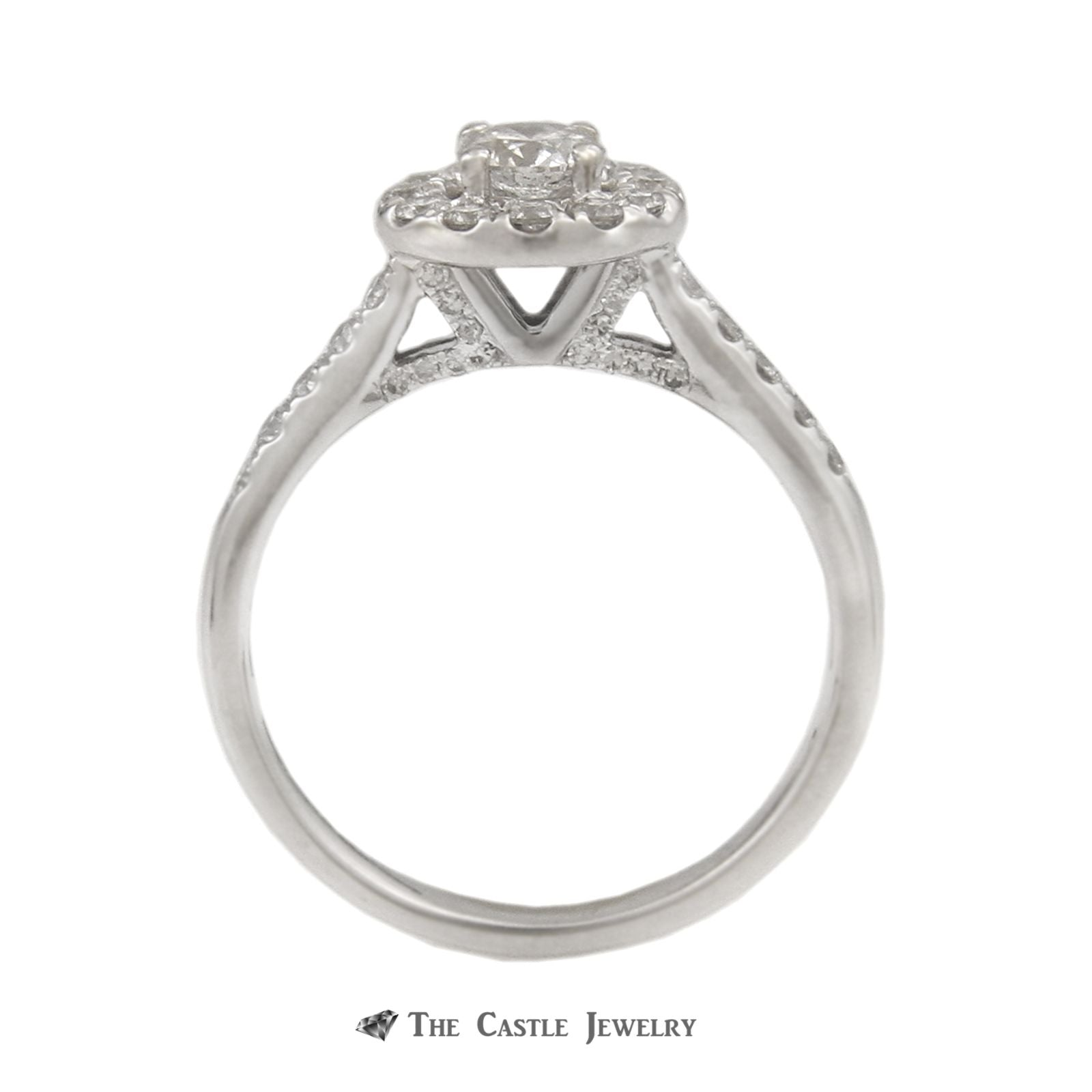 Crown Collection 1cttw Bridal Set w/ Round Center in Diamond Halo & Diamond Sides in 14k-1