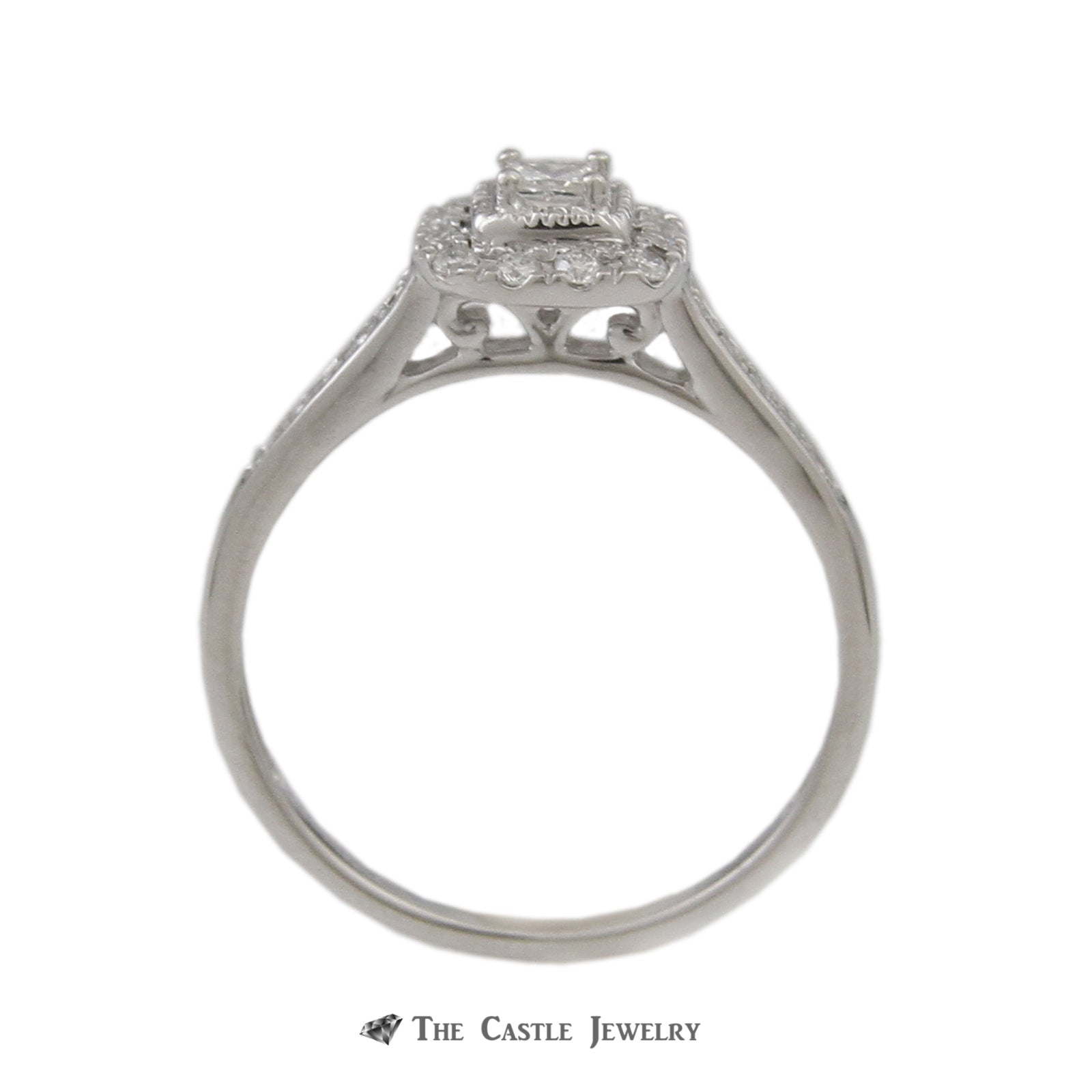 Crown Collection .33cttw Princess Diamond Bridal Set w/ Round Diamond Bezel & Sides in 14k-1