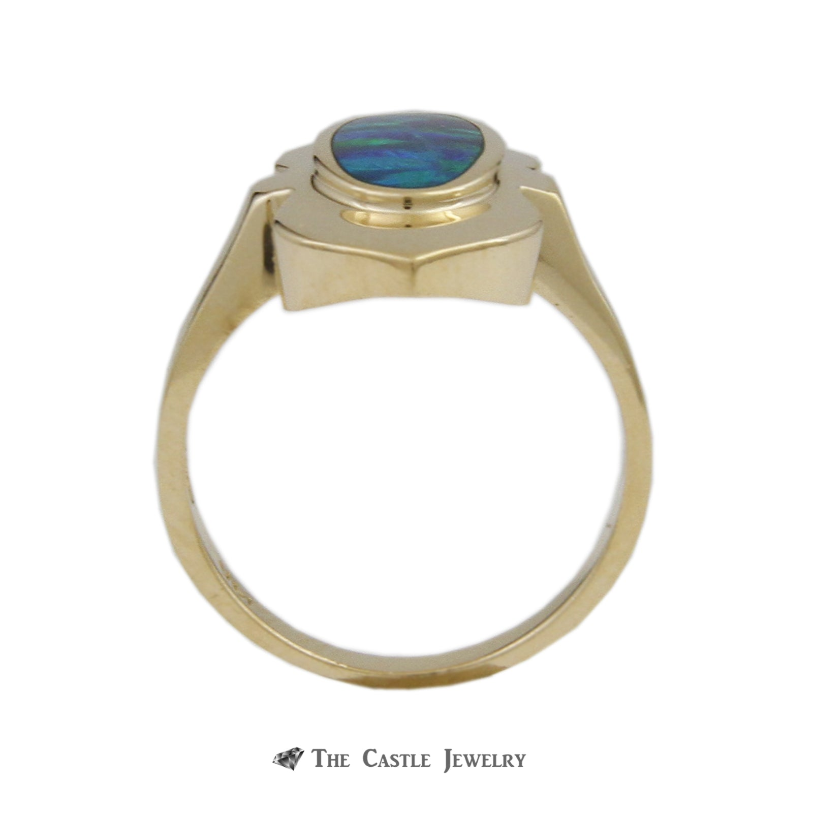 Oval Black Opal Bezel Set in Polished Shield Design Mounting Crafted in 14K Yellow Gold-1