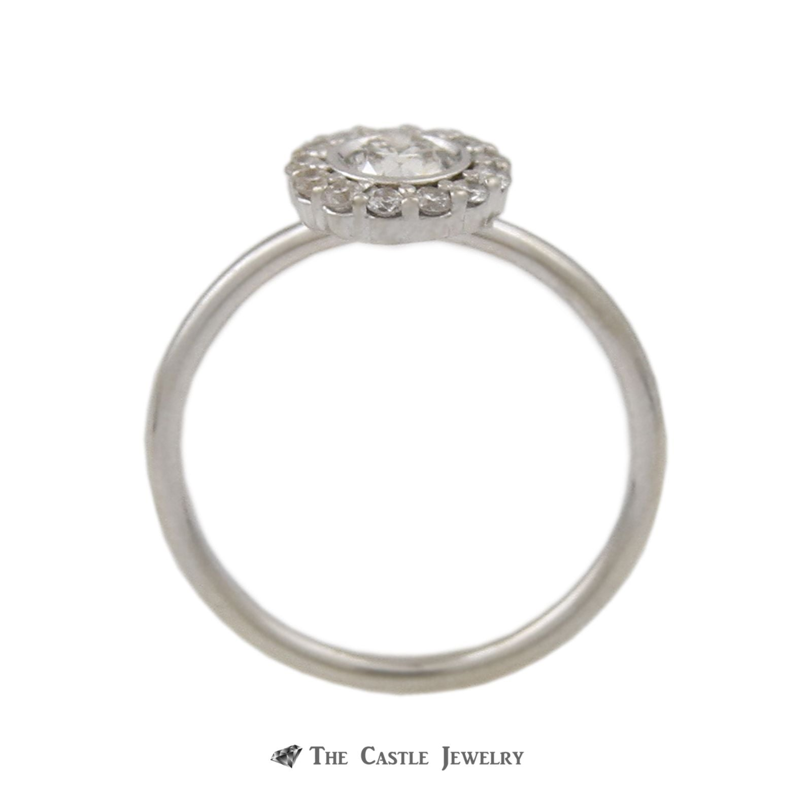 Bridal Set Round Bezel Set Diamond Center Round Diamond Halo 14K White Gold-1