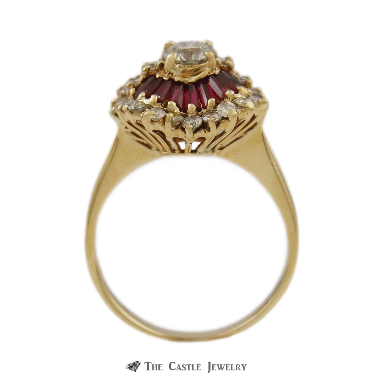 Ruby & Diamond Ballerina Ring with .50ct Round Center & Baguette Ruby Halo in 14K Yellow Gold-1