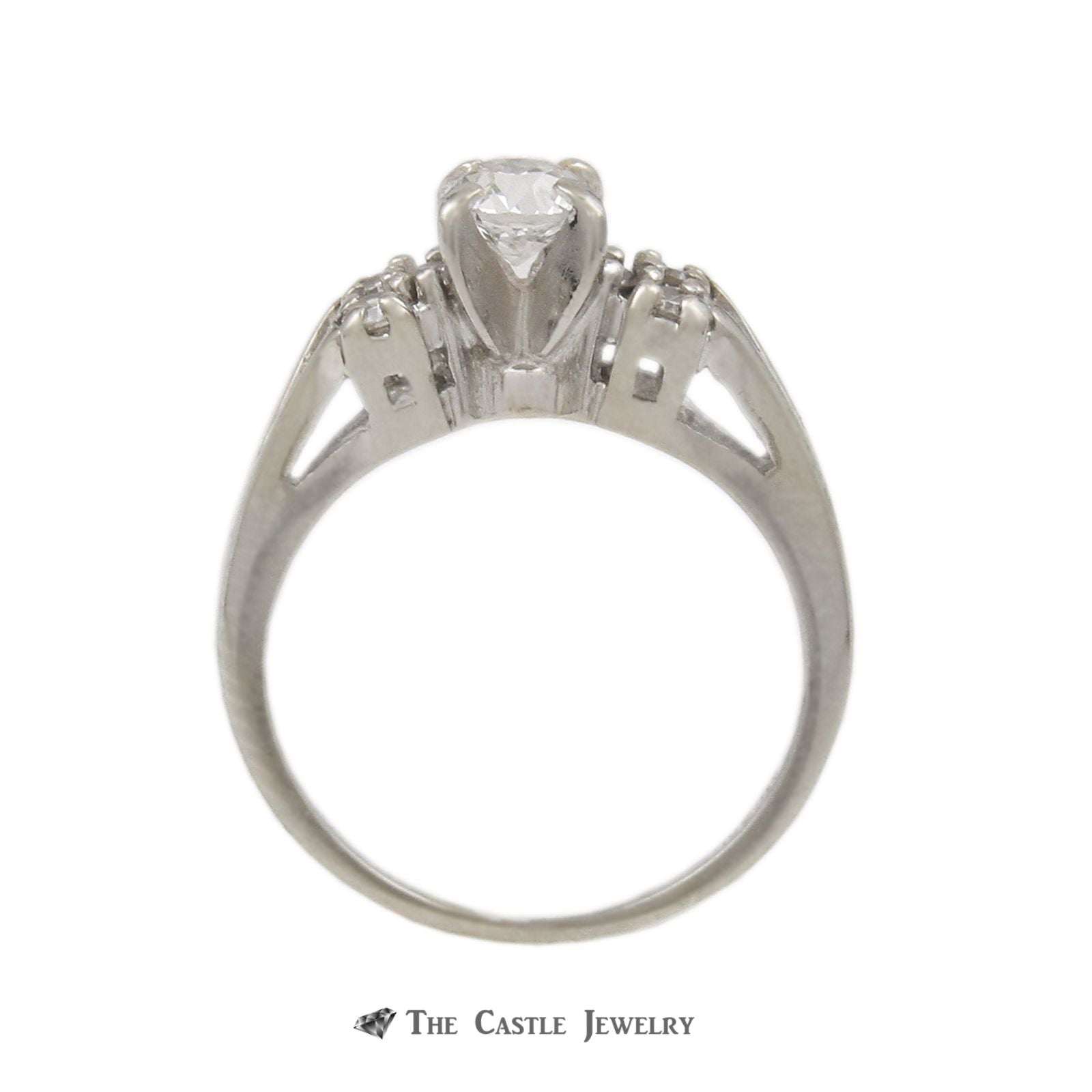 Round .38ct Diamond Bridal Ring with Open Diamond Sides 14K White Gold