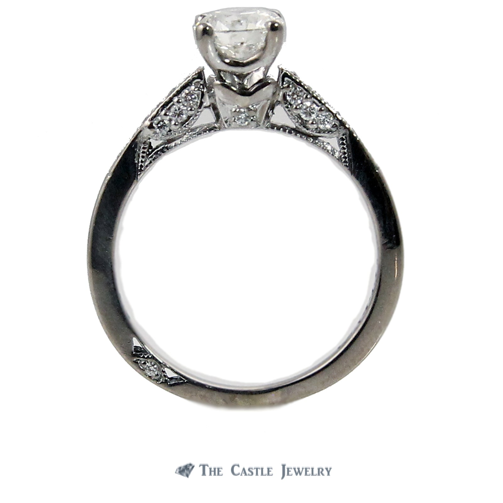 Tacori Engagement Ring .65carat SI2/I & Diamond Accents in 18K White Gold-1