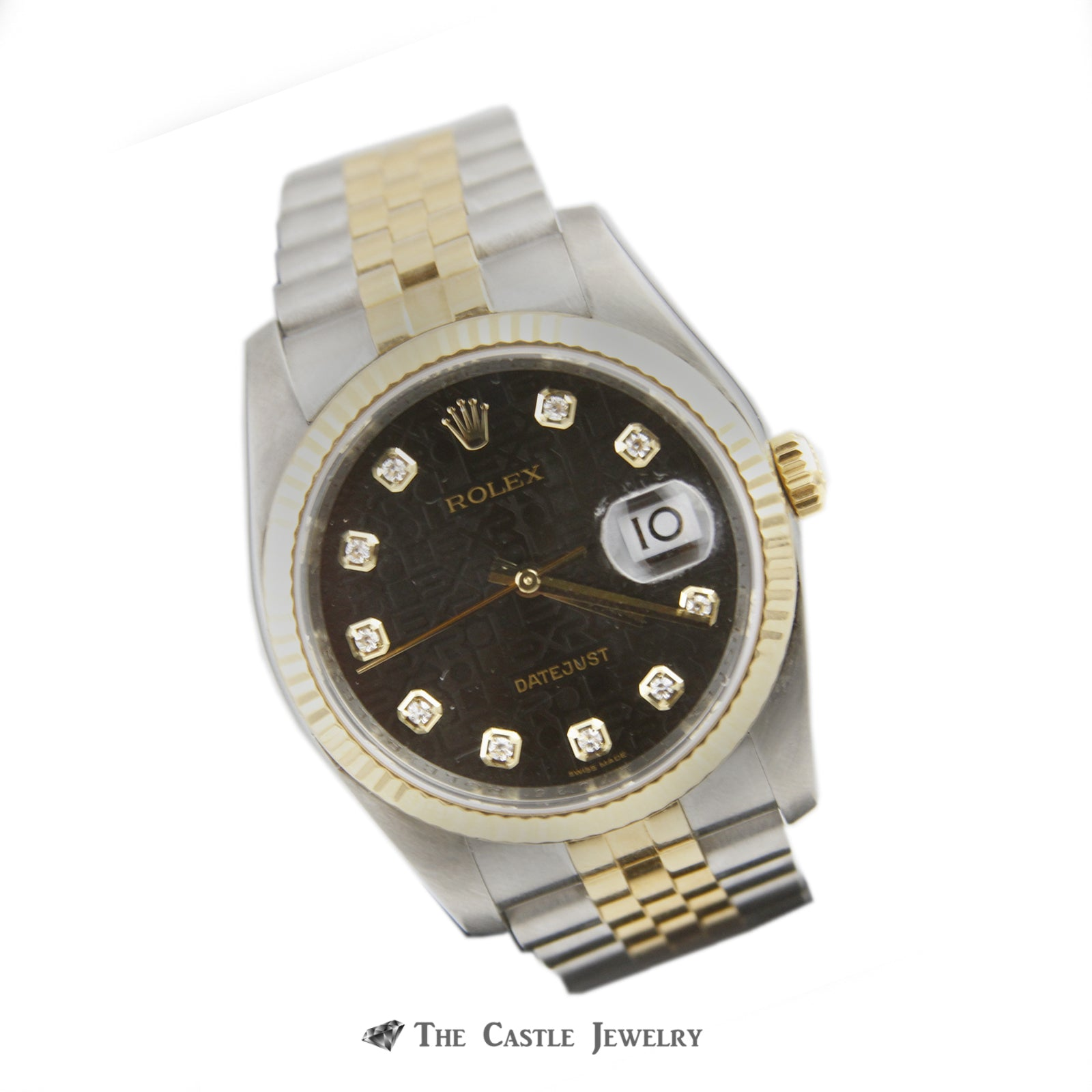 Rolex Datejust w/ Black Signature Dial w/ Stainless Steel & 18K Two Toned Jubilee 116233-2