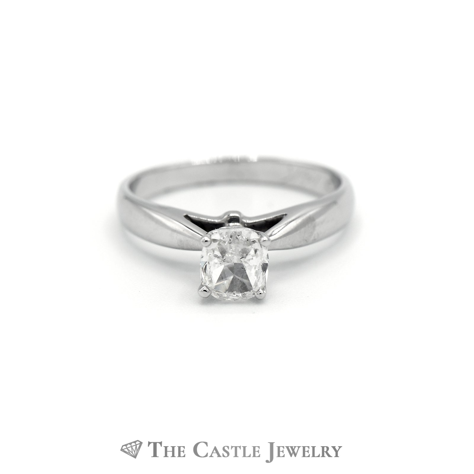 1ct Cushion Cut Diamond Solitaire Engagement Ring in 14k White Gold