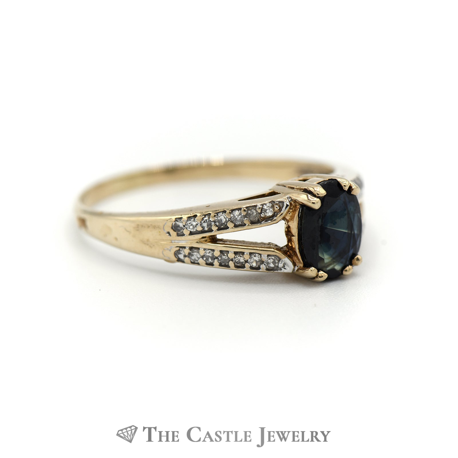 Stunning Oval Sapphire Ring with Round Diamond Sides in 10K Yellow Gold-2