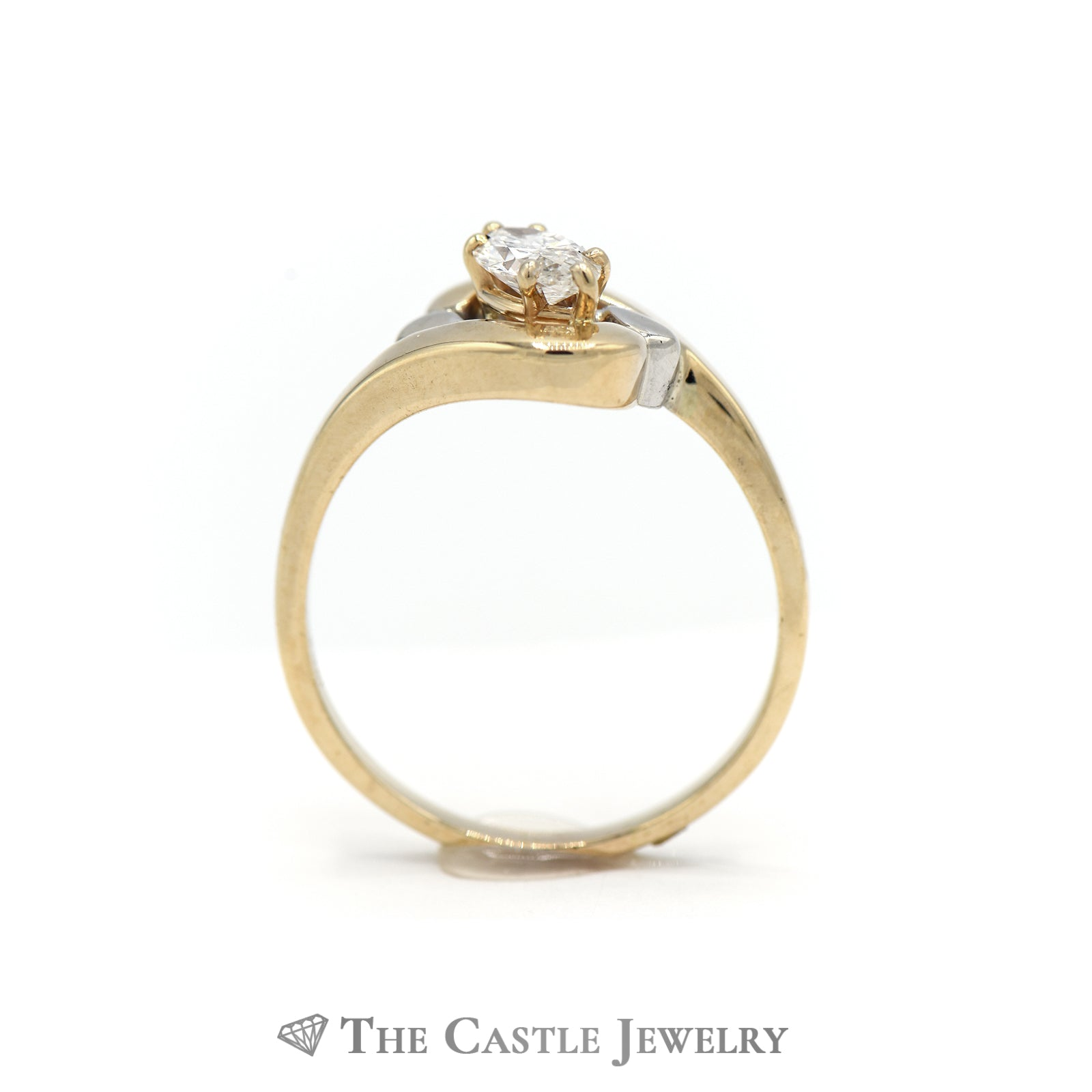 Charming Marquise Diamond Solitaire Ring in Yellow Gold-1