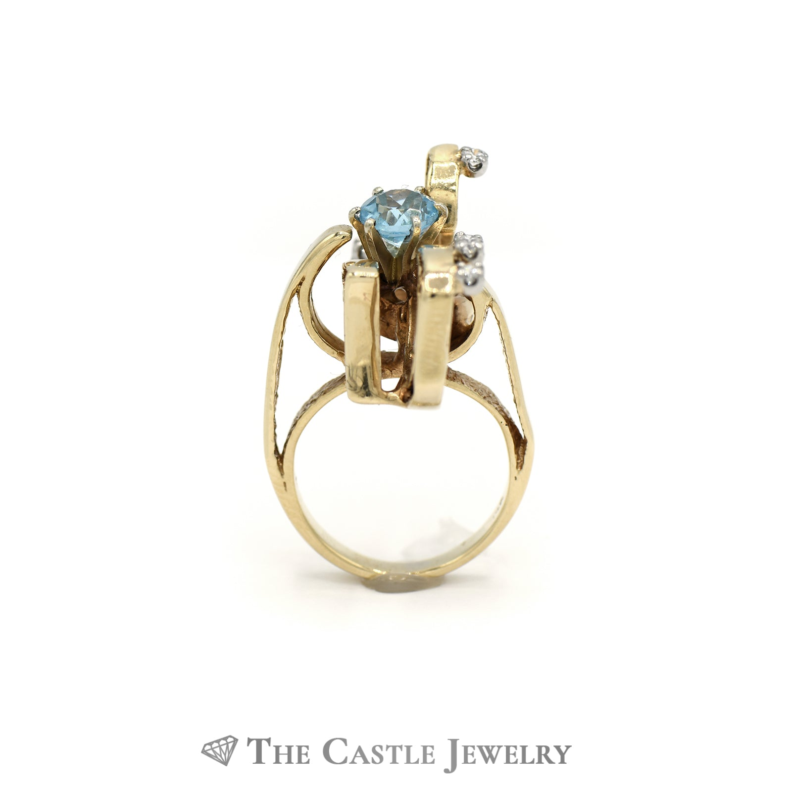 Open Design Round Aquamarine Ring with Round Diamond Accents in 14k Yellow Gold-1