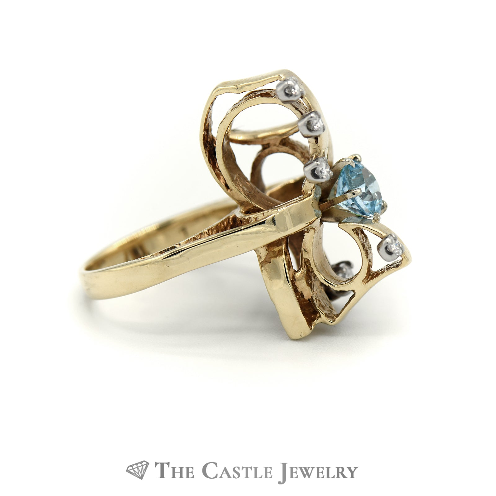 Open Design Round Aquamarine Ring with Round Diamond Accents in 14k Yellow Gold-2