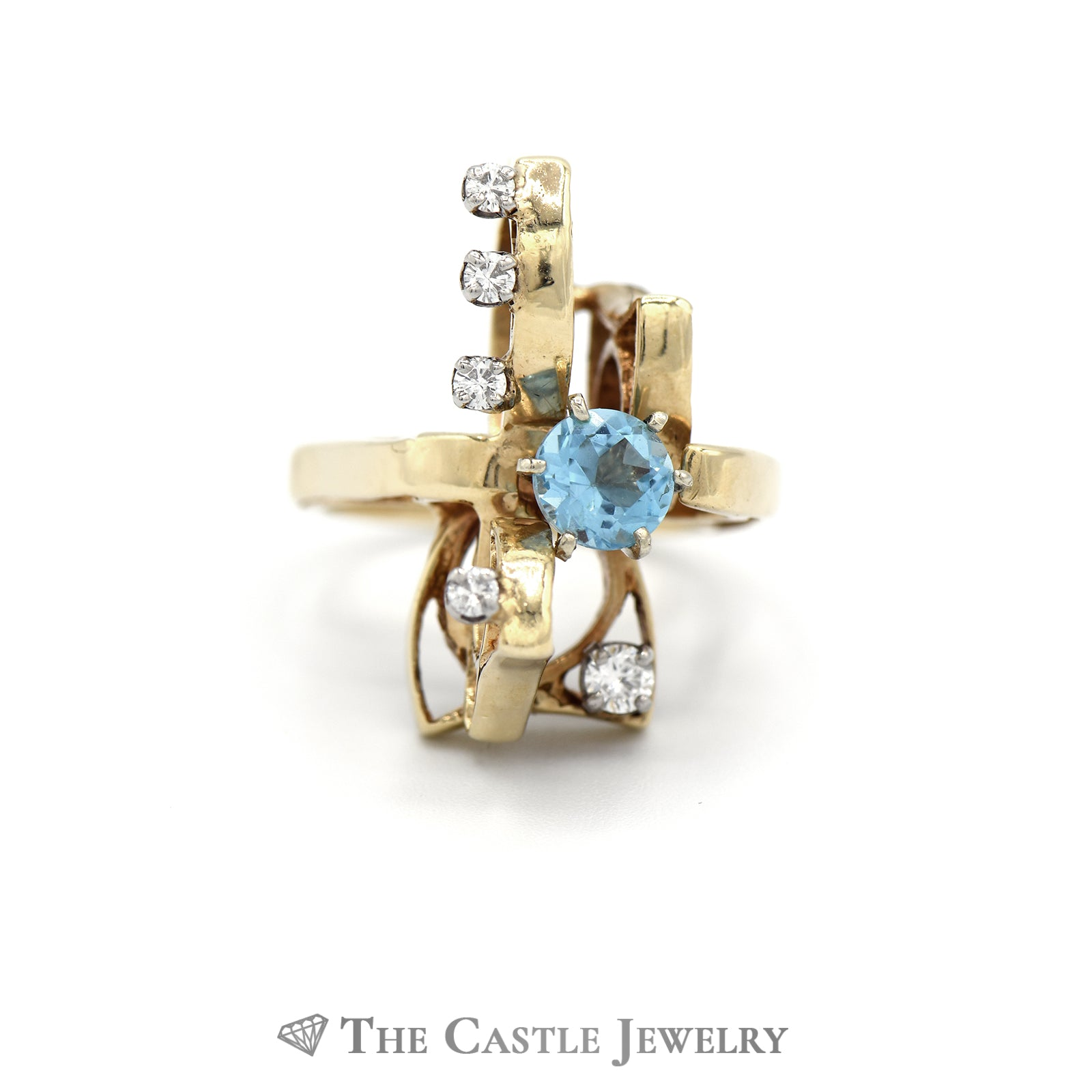 Open Design Round Aquamarine Ring with Round Diamond Accents in 14k Yellow Gold