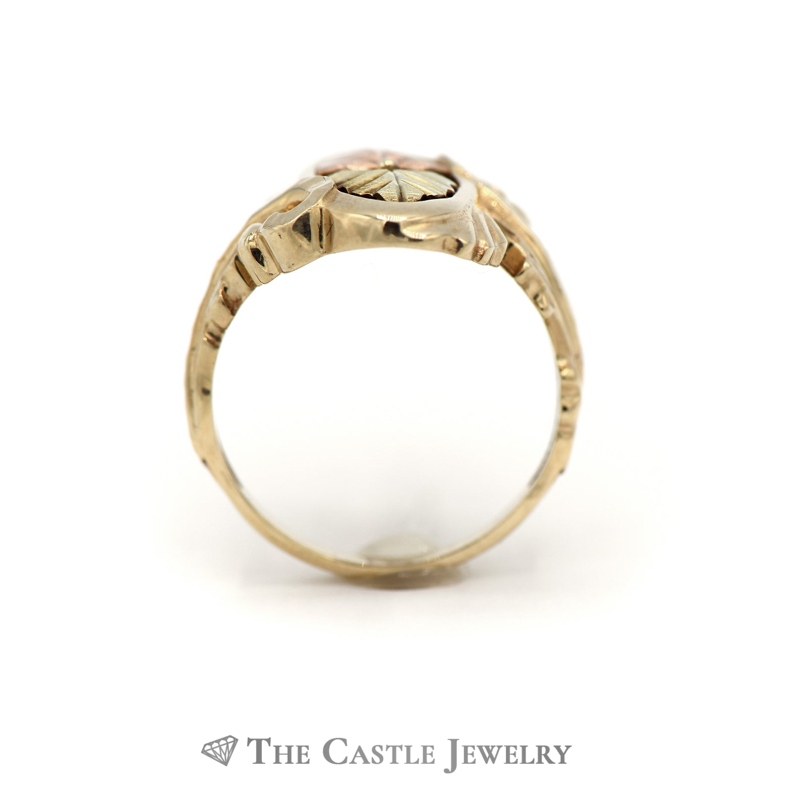 Charming Gold Leaf oval Design Ring Crafted in 10k Tri Gold-1