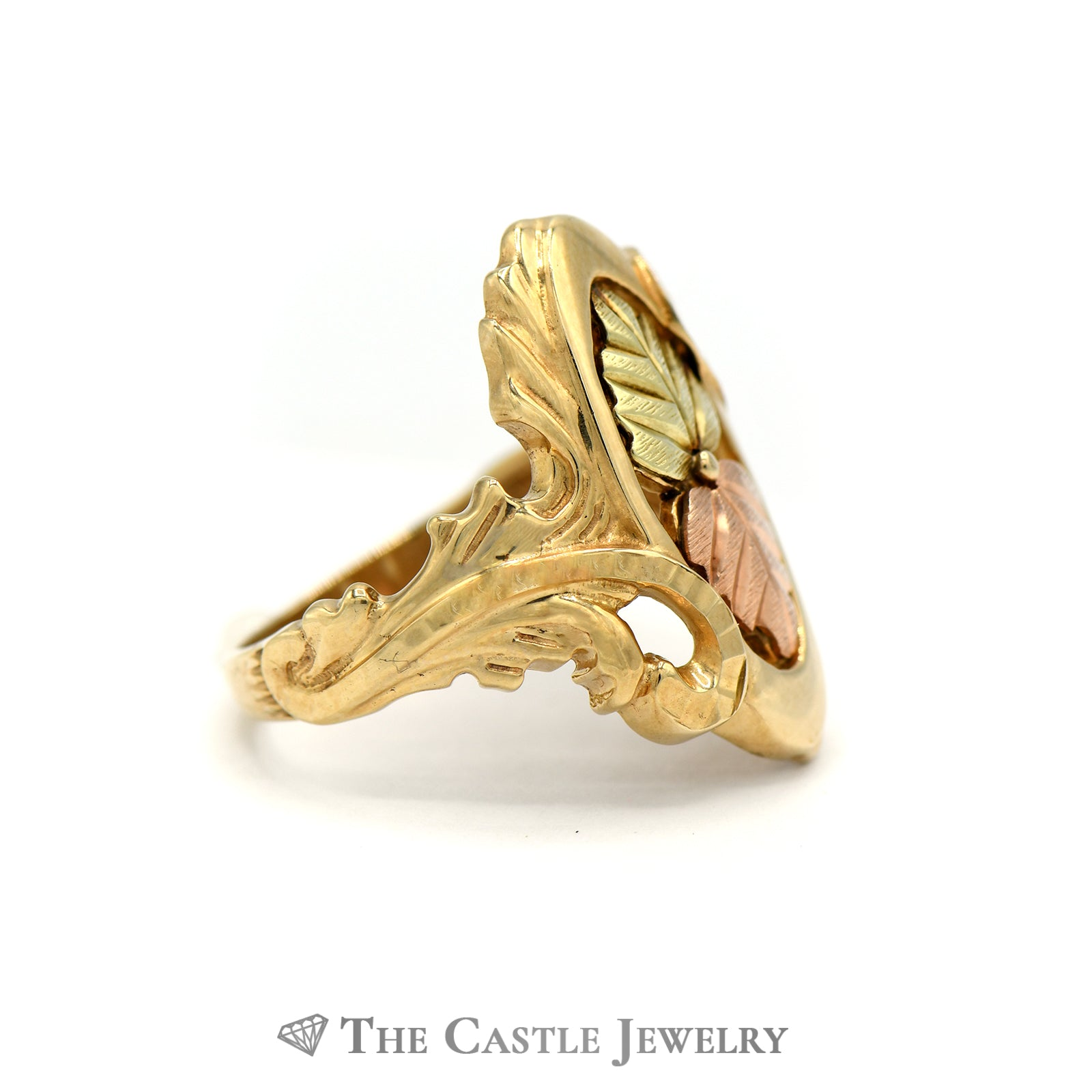 Charming Gold Leaf oval Design Ring Crafted in 10k Tri Gold-2