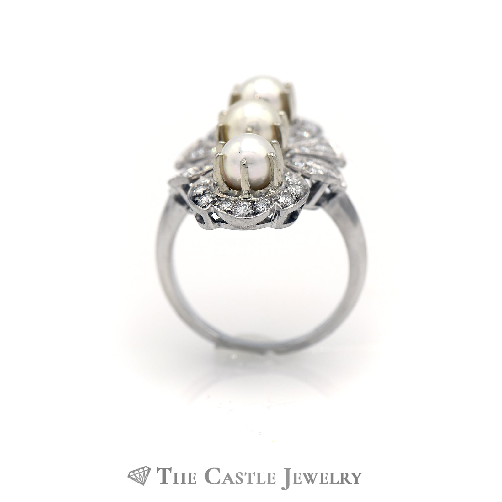 Stunning Triple Pearl Ring with 1cttw Diamonds in Antique Design Mounting-1