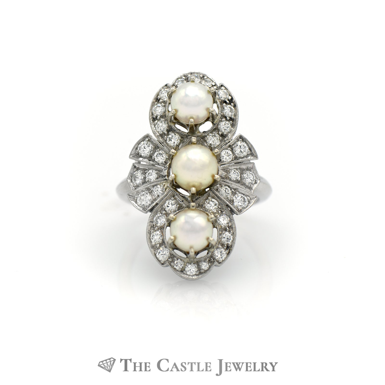 Stunning Triple Pearl Ring with 1cttw Diamonds in Antique Design Mounting