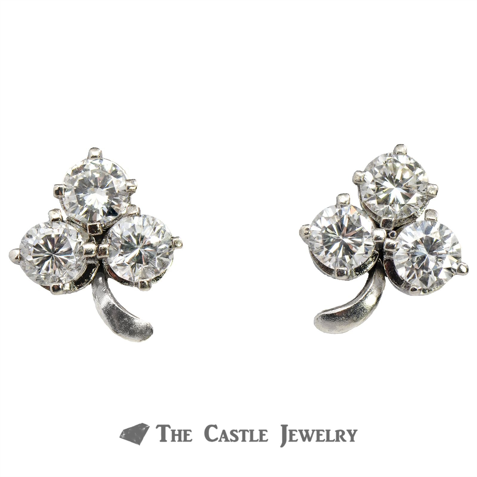 3 Leaf Clover Earrings of 1.38cttw Round Brilliant Cut Diamonds in White Gold