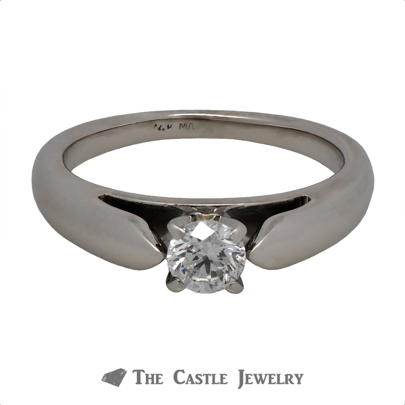 Round Brilliant Cut Solitaire Engagement Ring in Cathedral Mounting