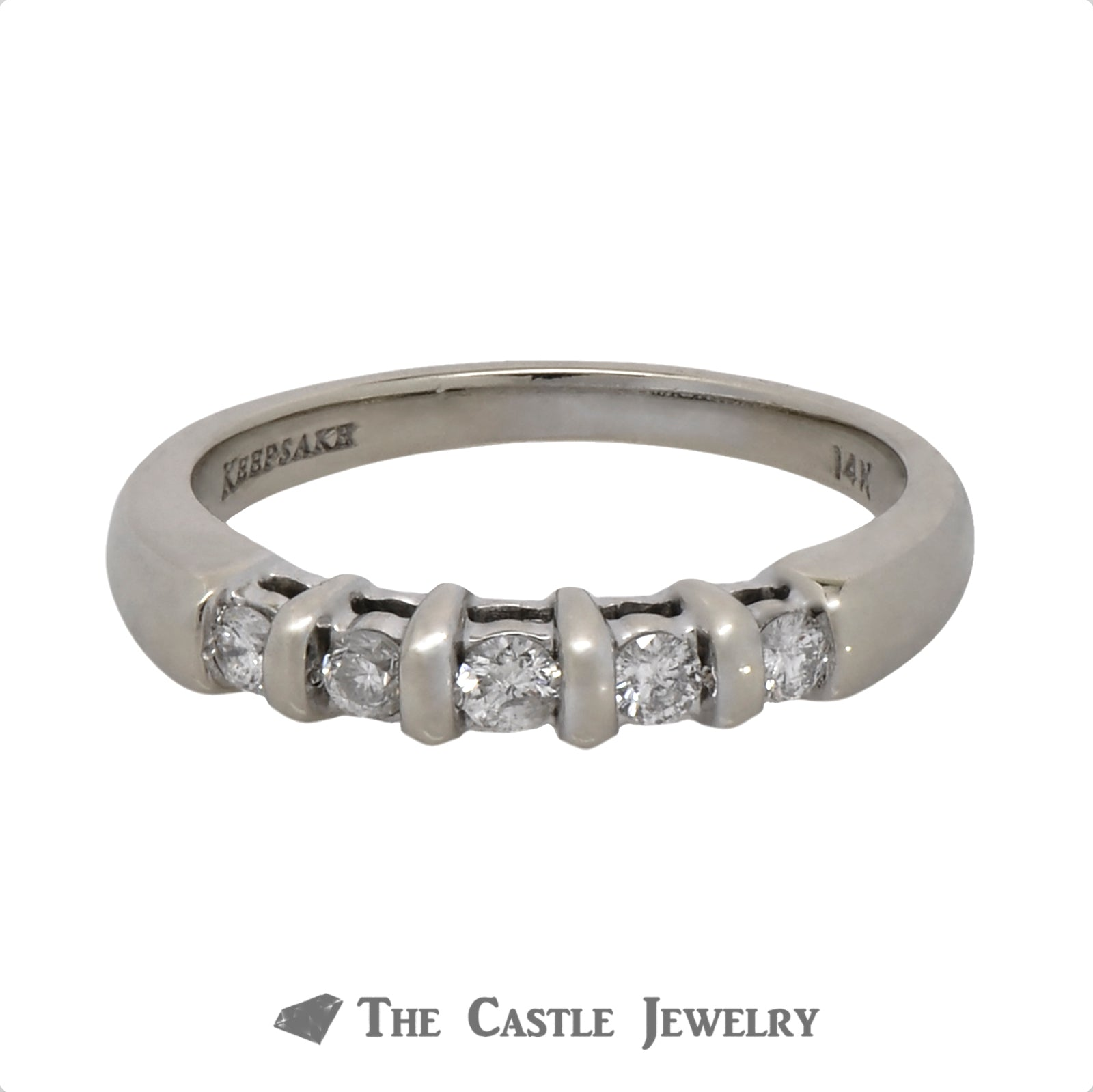 .20cttw Five Diamond Wedding Band in 14k White Gold