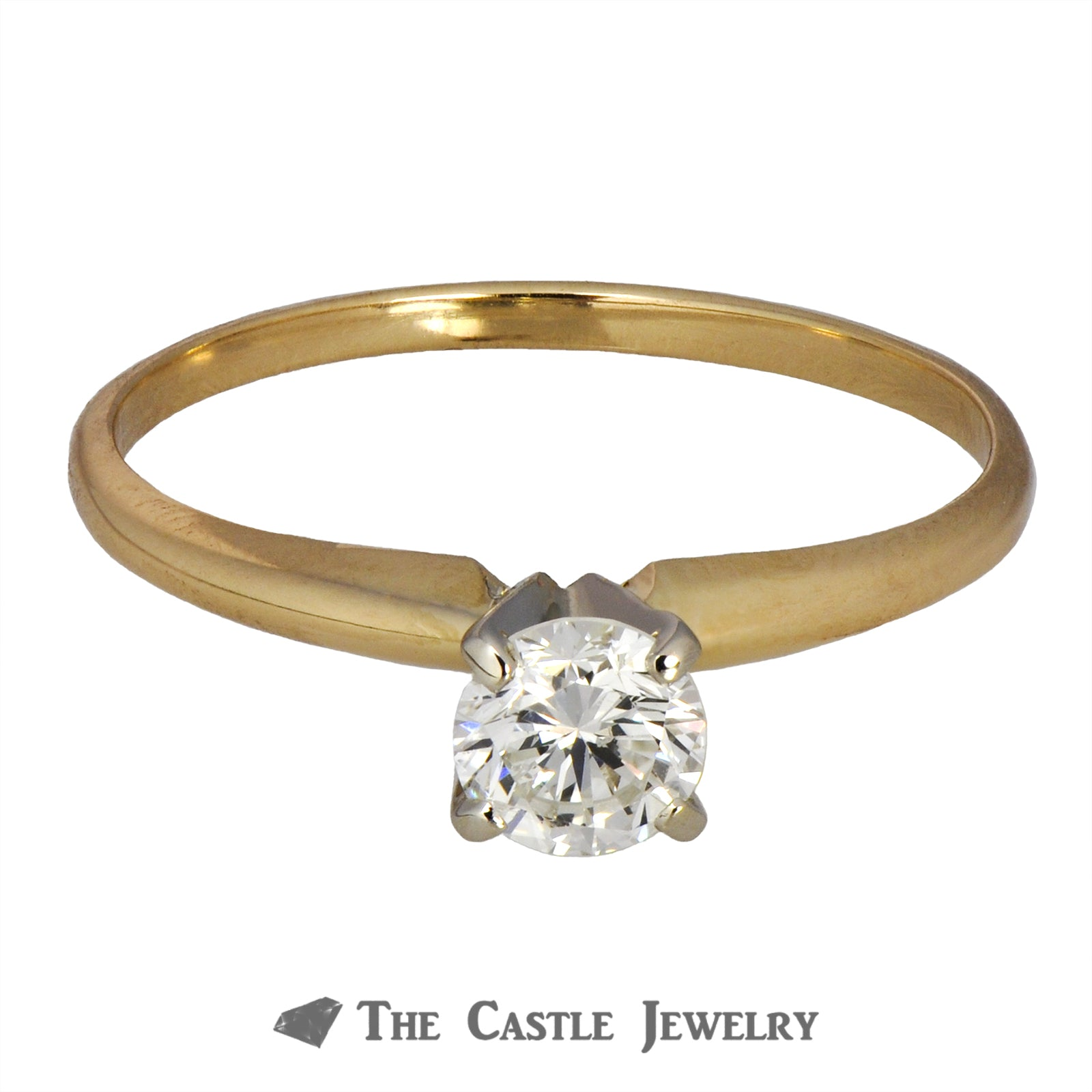 Round Diamond Engagement Ring .50ct SI1/SI2 H 14K Yellow Gold