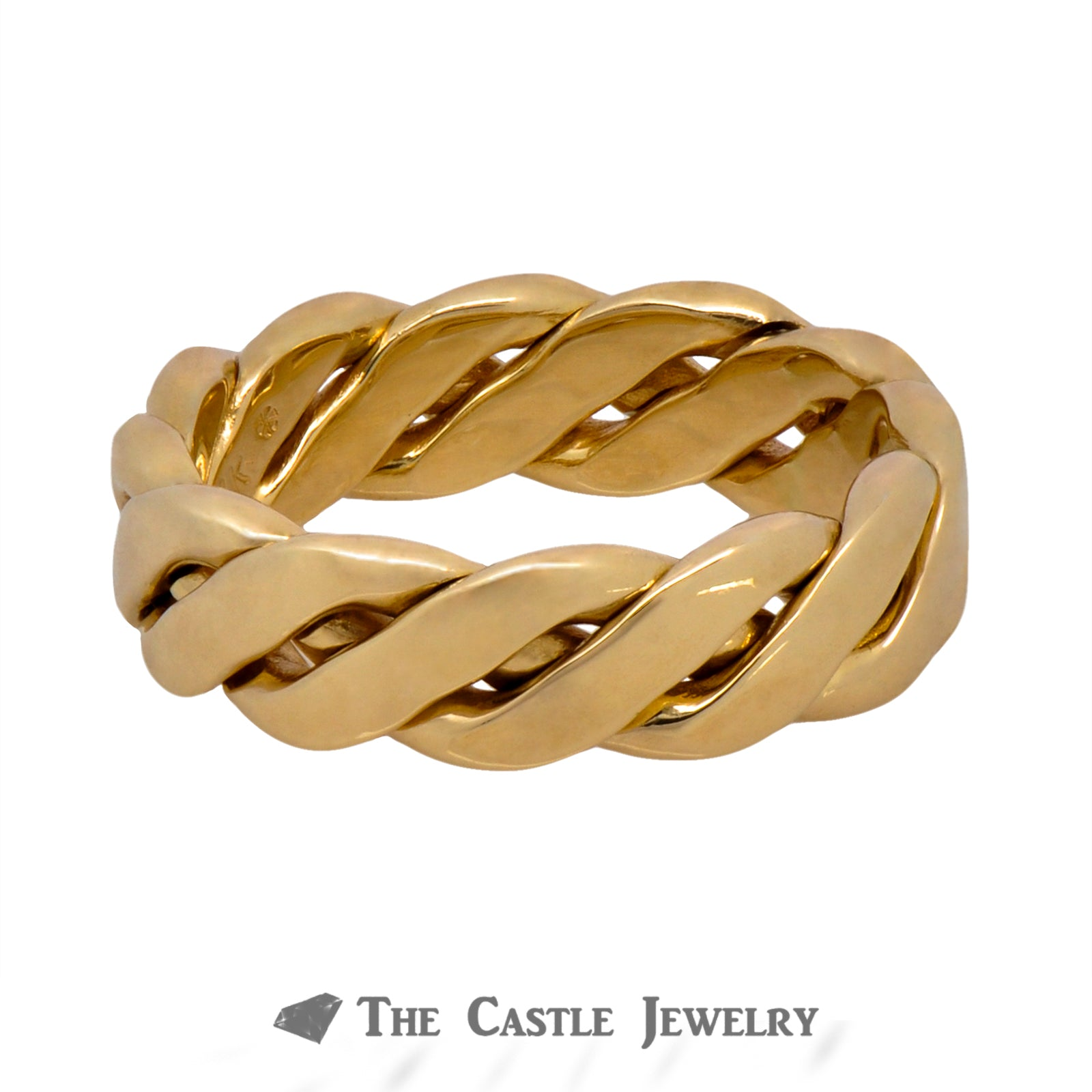 Men's 14k Yellow Gold 6.5mm Twisted Designed Band