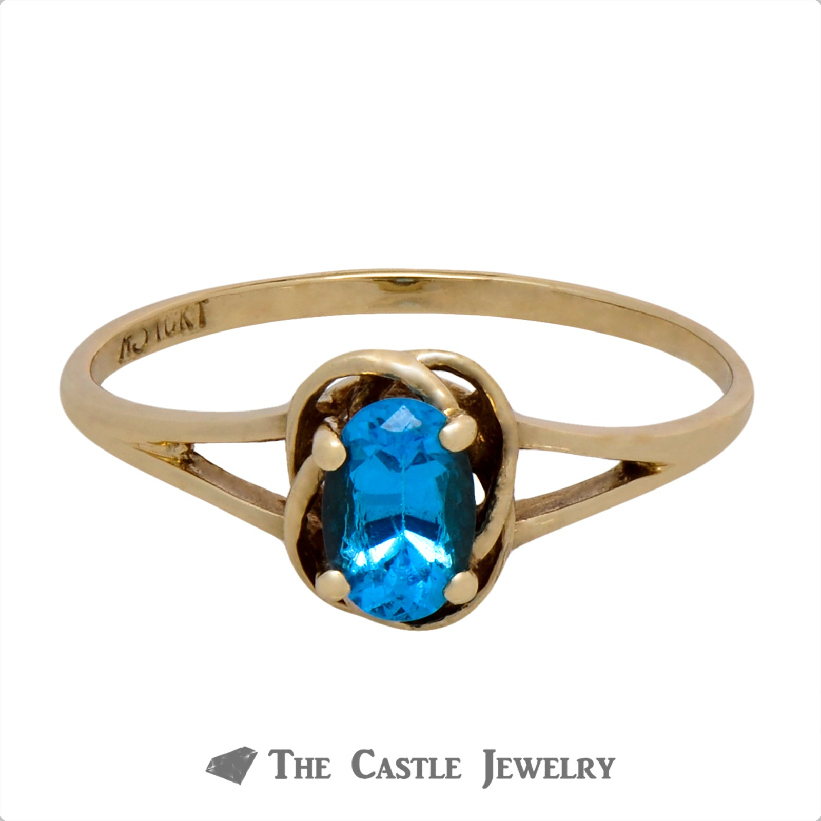 Oval Cut Blue Topaz Ring with Knot Designed Split Shank Mounting