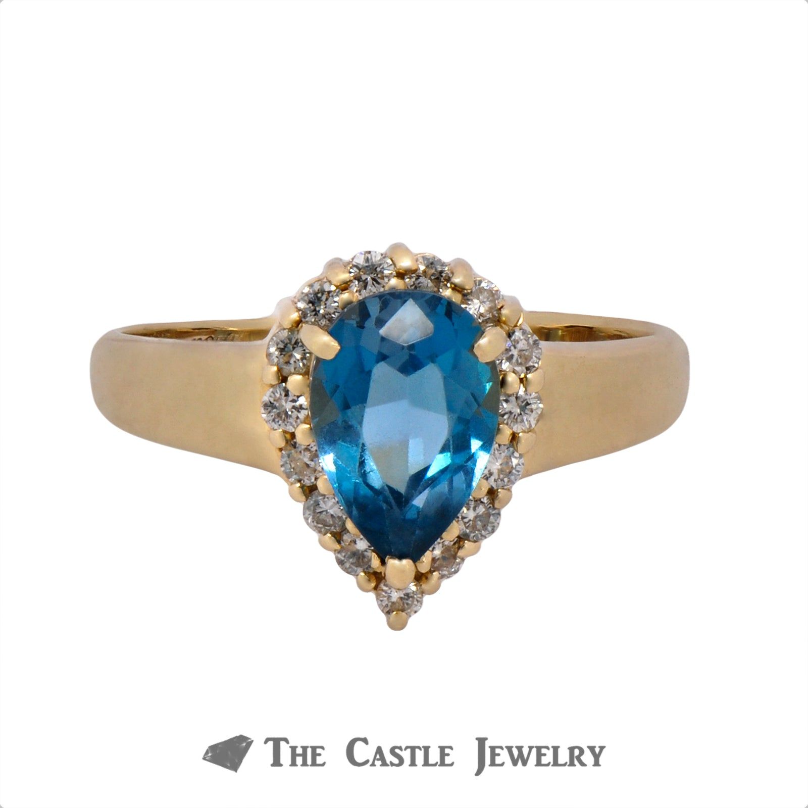 Pear Cut Topaz Ring with .30cttw Diamond Halo