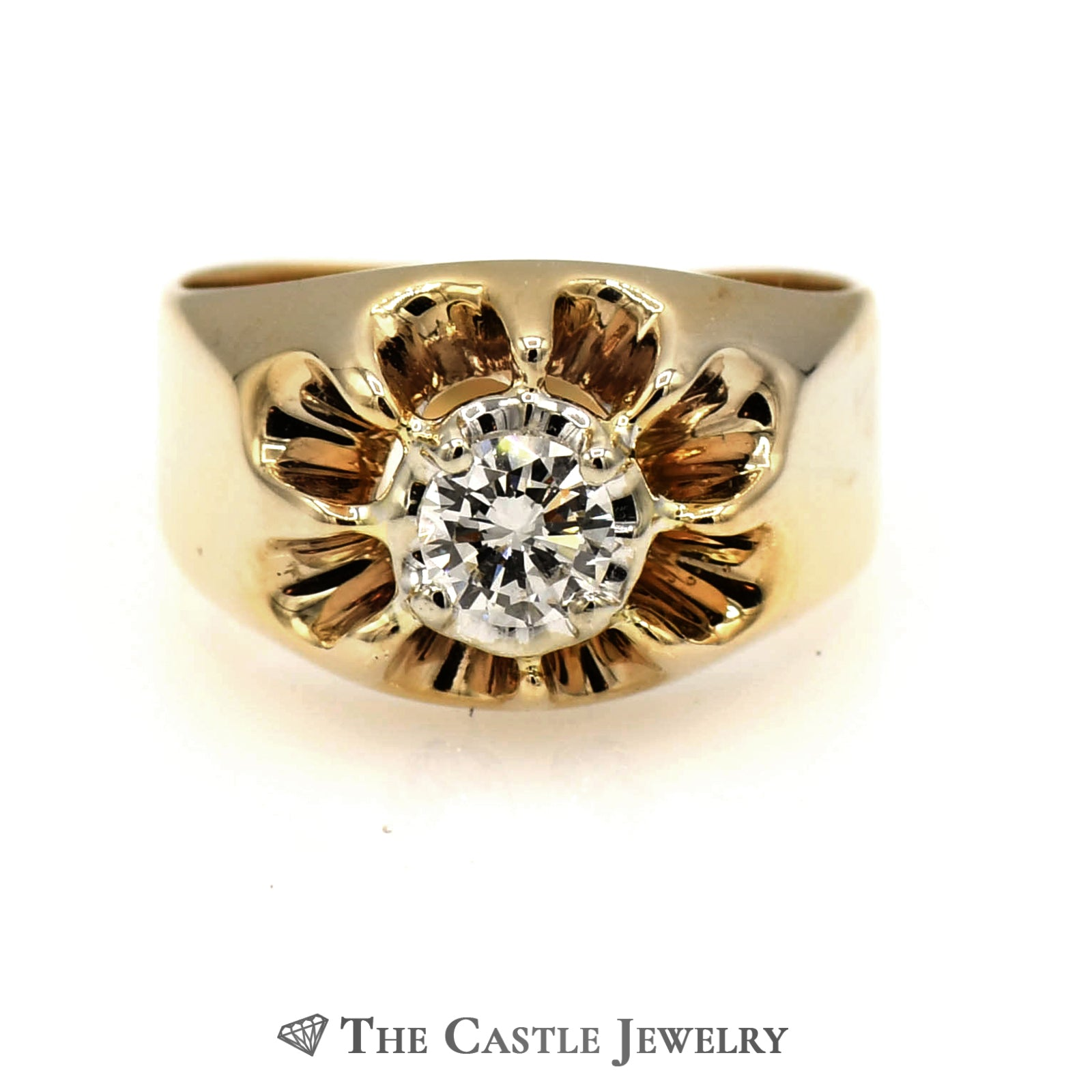 .38 Carat Diamond Solitaire Ring in Sunburst Style Mounting