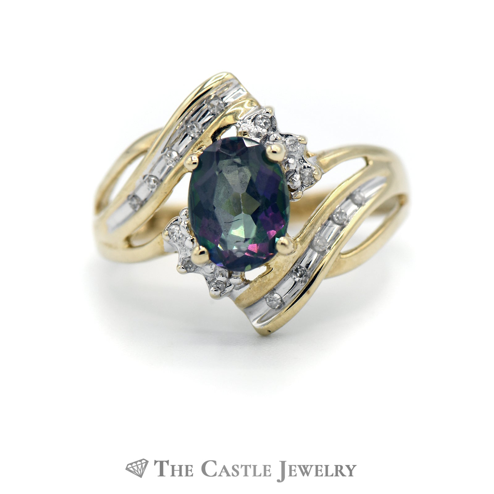 Oval Cut Mystic Topaz Ring with Diamond Accents in 10k Yellow Gold Open Bypass Mounting