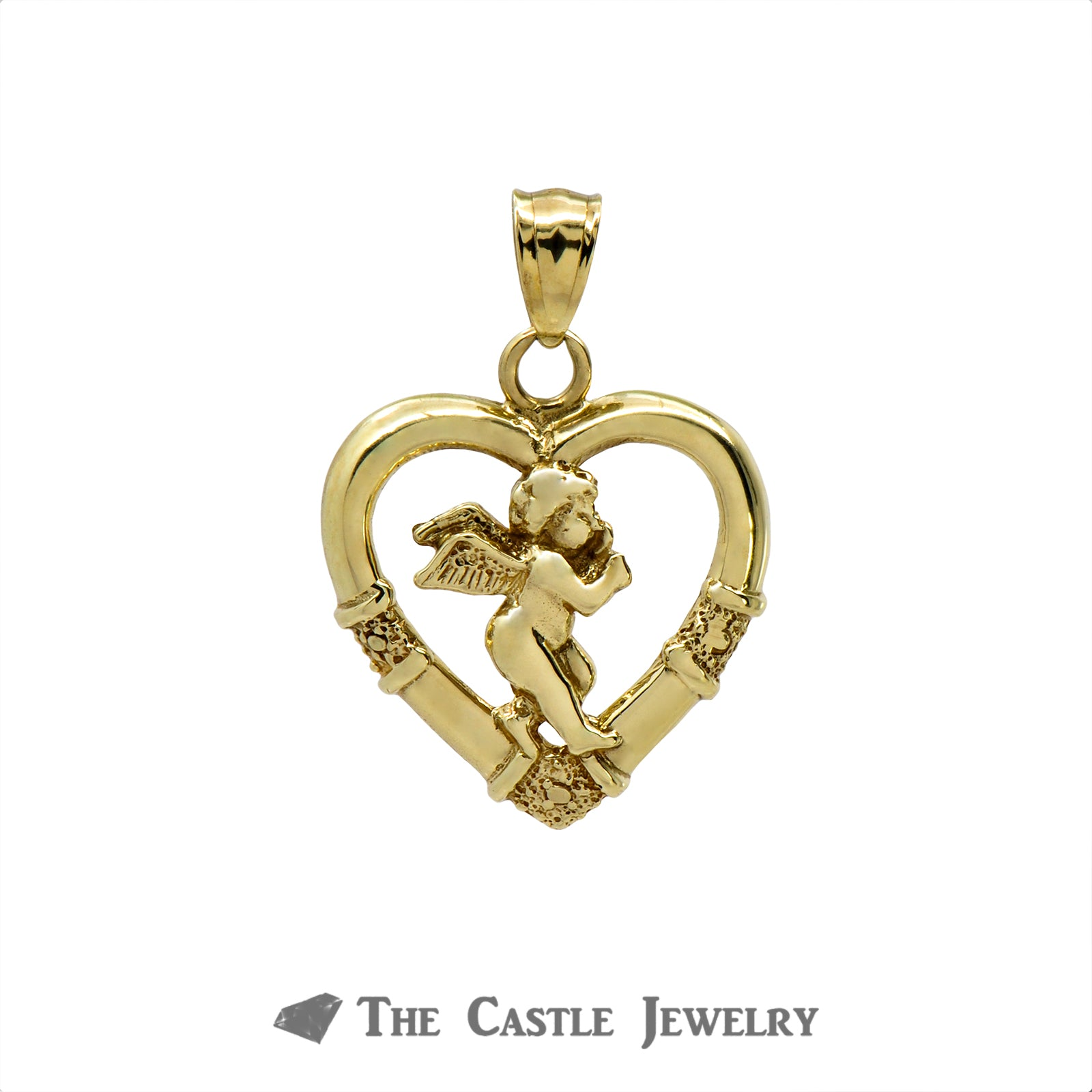 10k Yellow Gold Angel Crafted Inside Heart Pendant