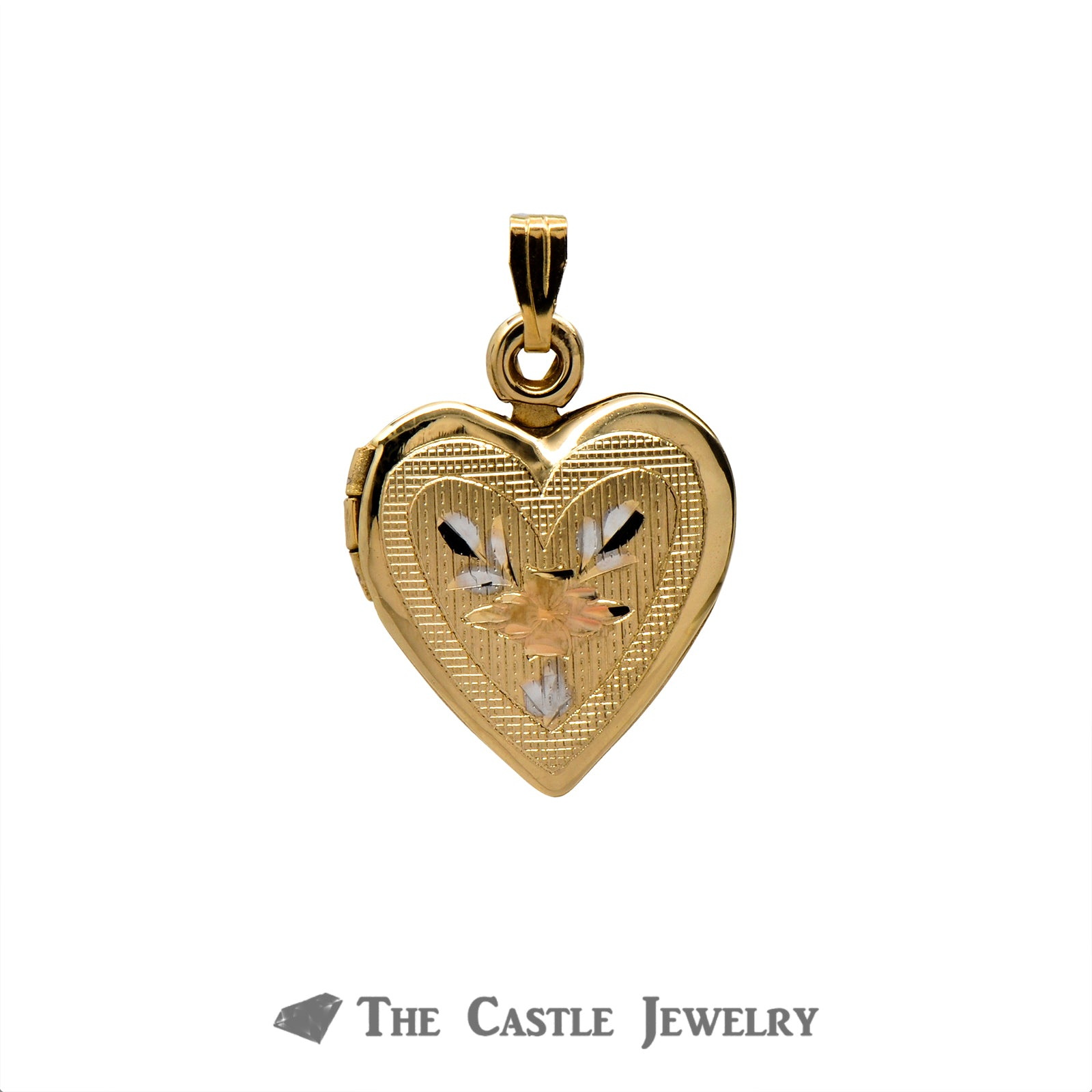 14k Yellow Gold Heart Locket Pendant with Floral Design