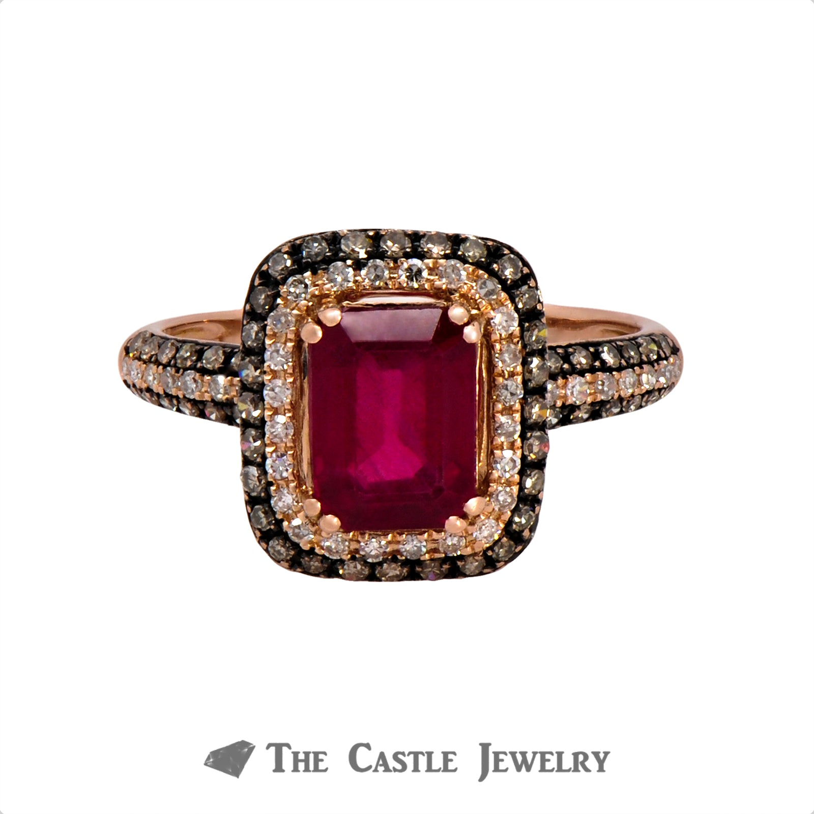 Effy Emerald Cut Ruby Ring with White and Chocolate Diamonds in 14k Rose Gold