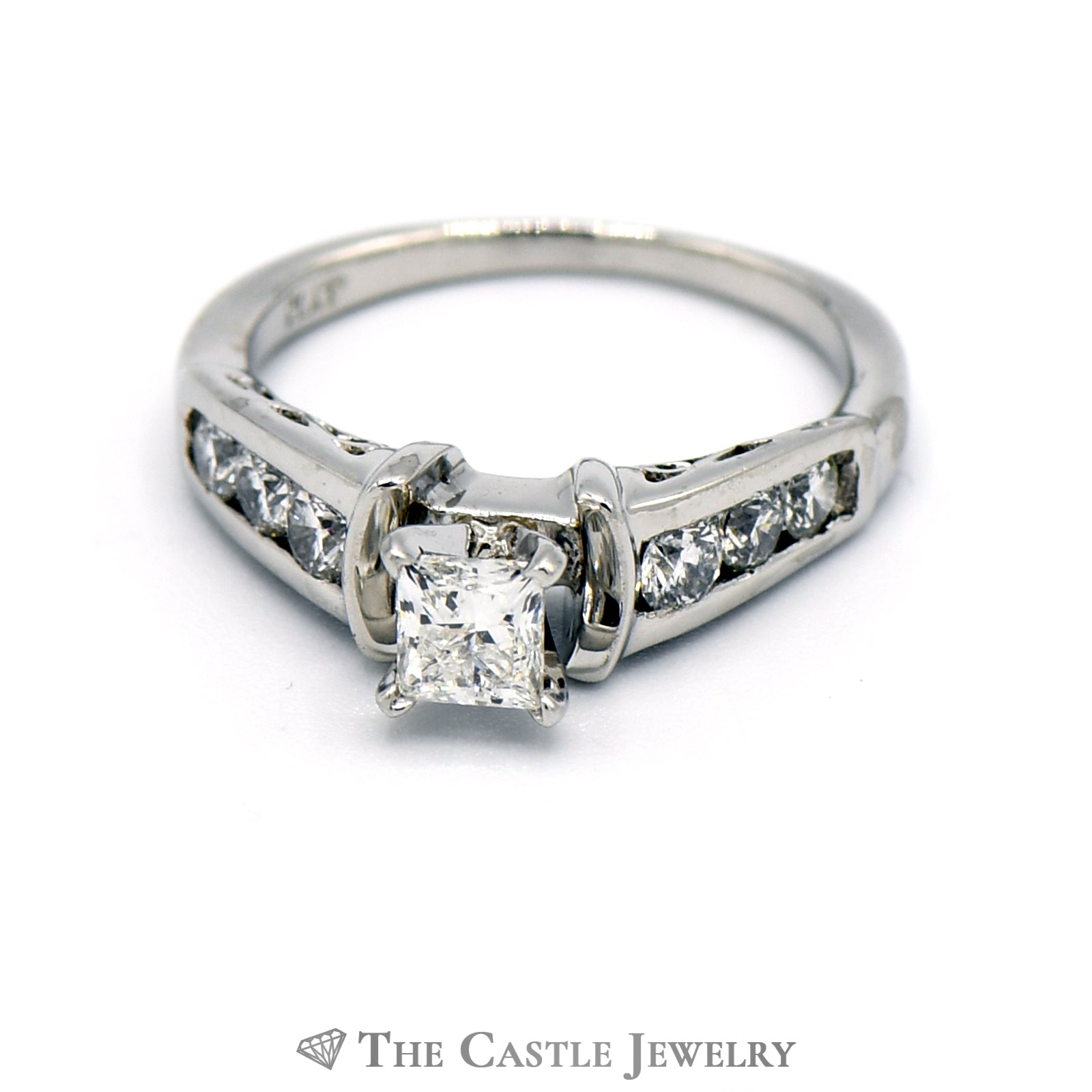 Princess Cut Diamond Engagement Ring with Channel Set Round Diamond Shank