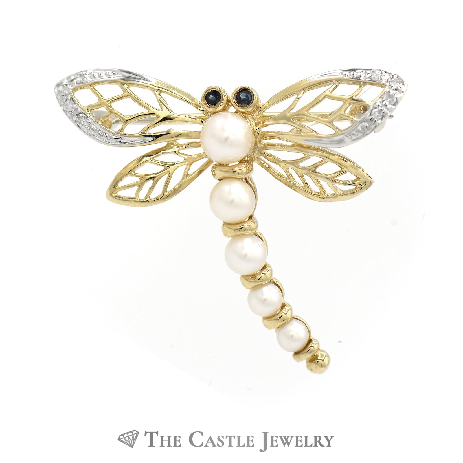 Pearl, Sapphire, Diamond Dragonfly Pin In 14K Yellow Gold