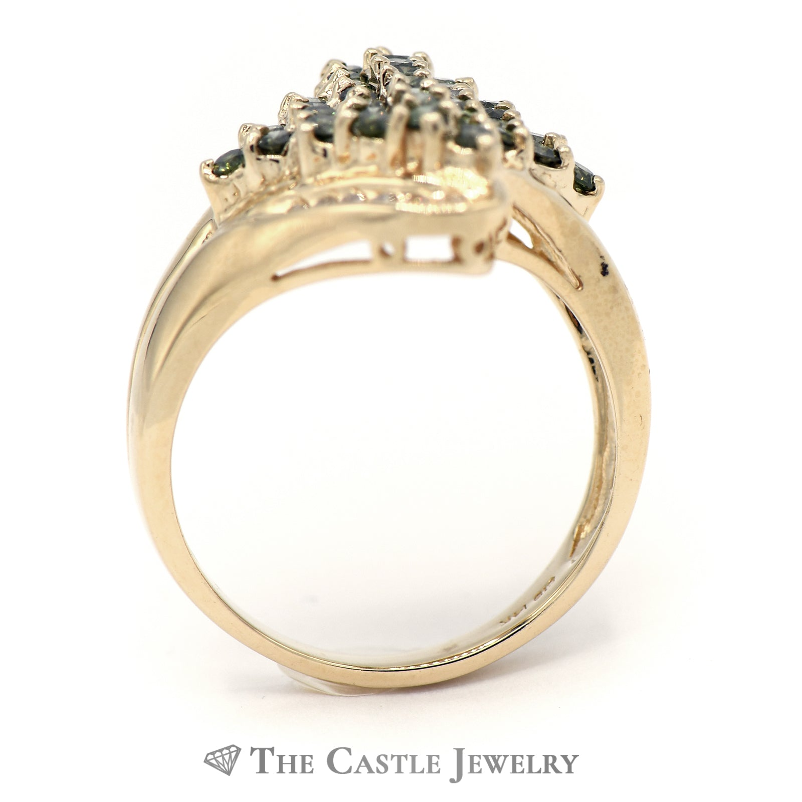 White And Green 1cttw Diamond Cluster Ring in 14K Yellow Gold-1