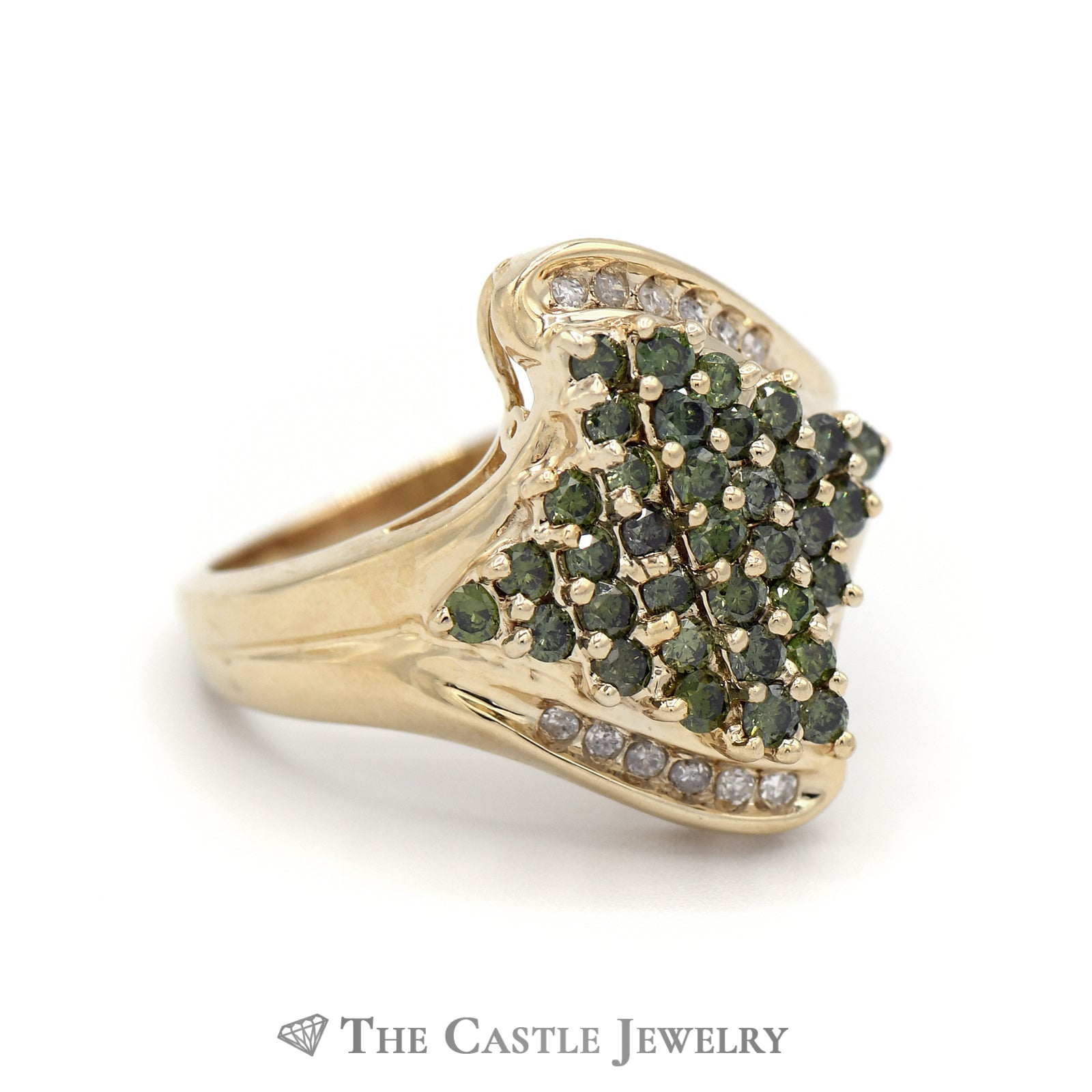 White And Green 1cttw Diamond Cluster Ring in 14K Yellow Gold-2