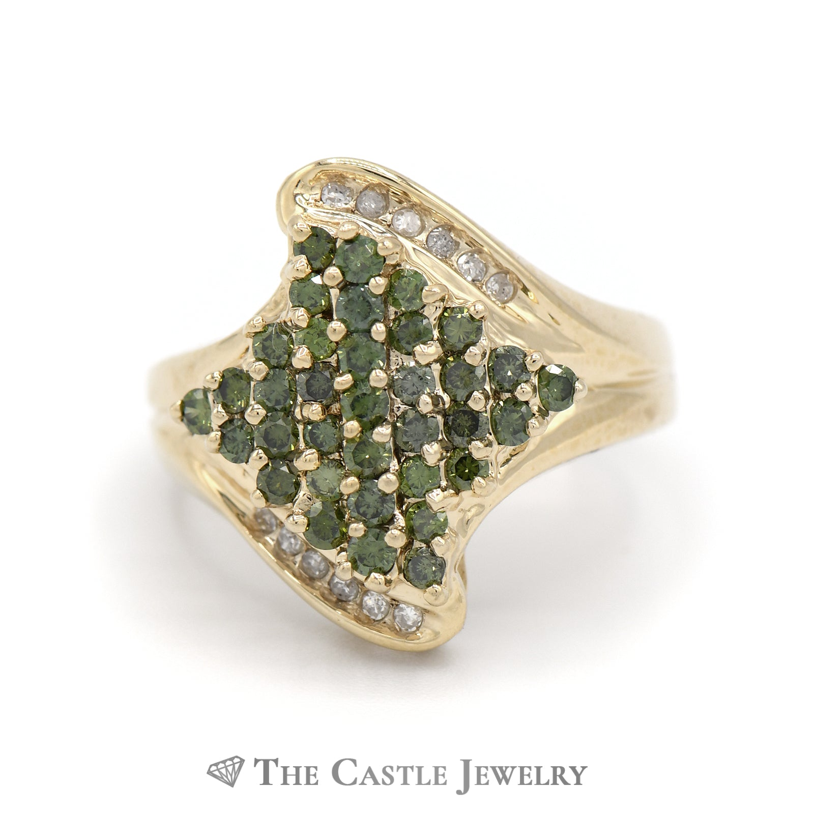 White And Green 1cttw Diamond Cluster Ring in 14K Yellow Gold