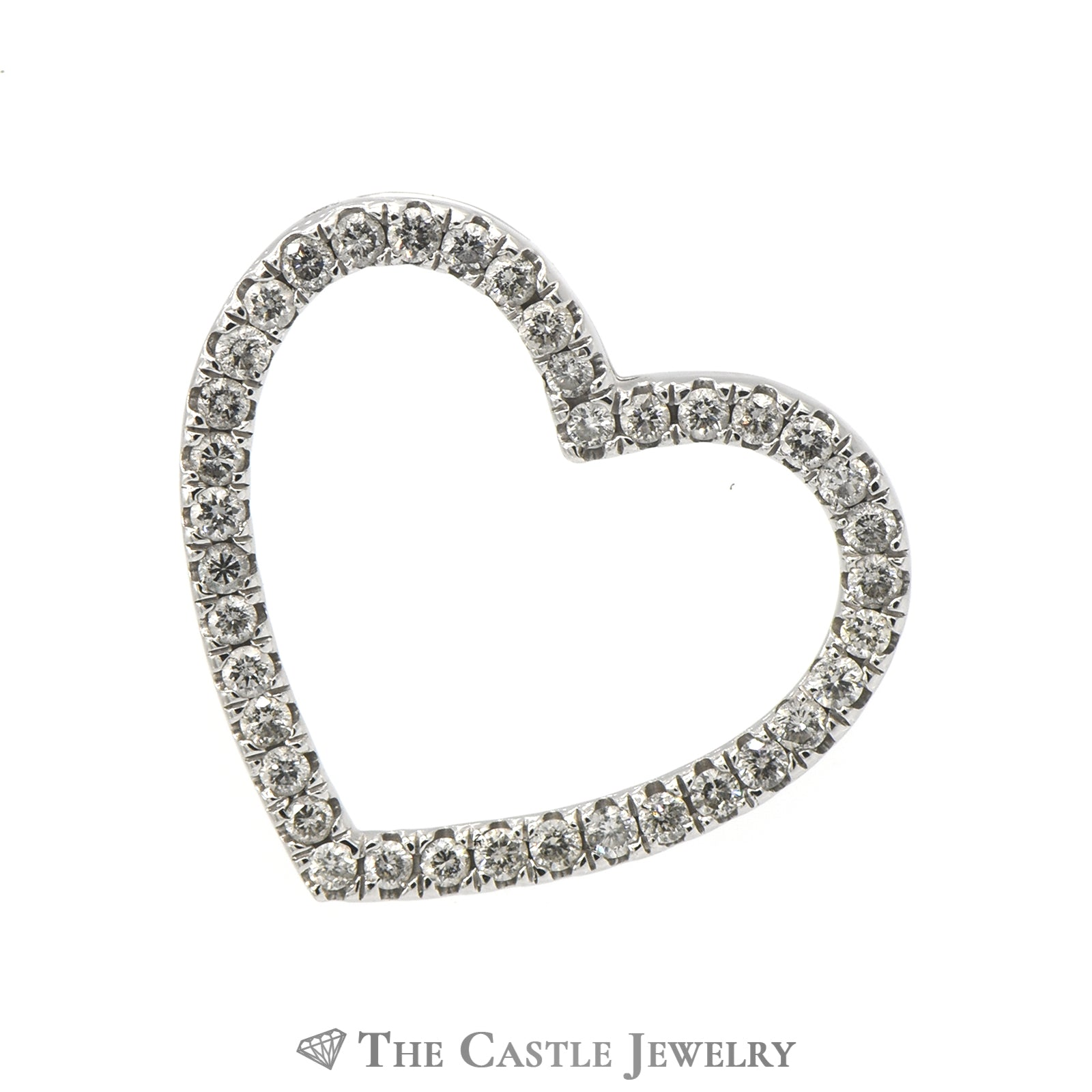 .75cttw Diamond Encrusted Heart Pendant in 10k White Gold