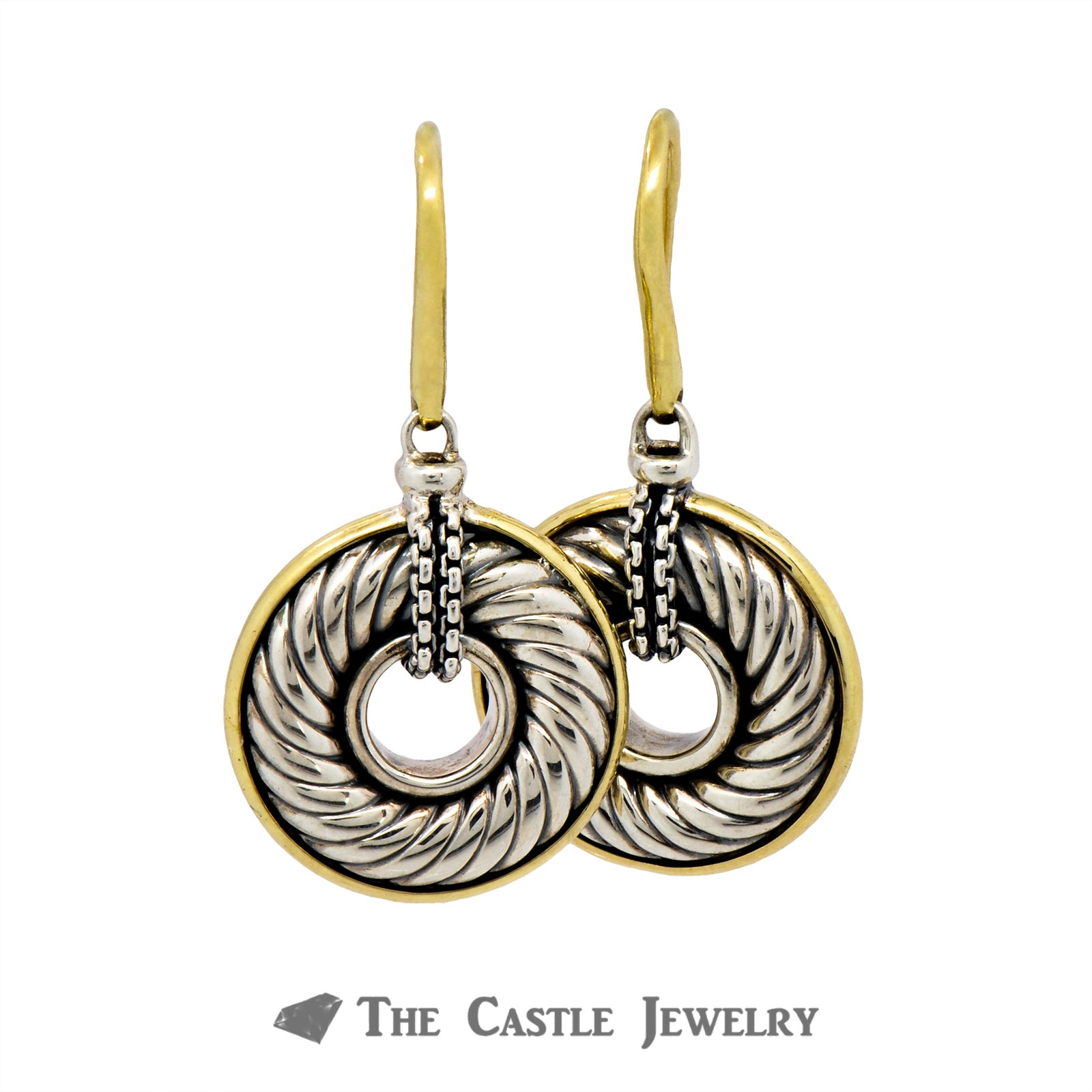 Two Tone David Yurman Circle Dangle Earrings