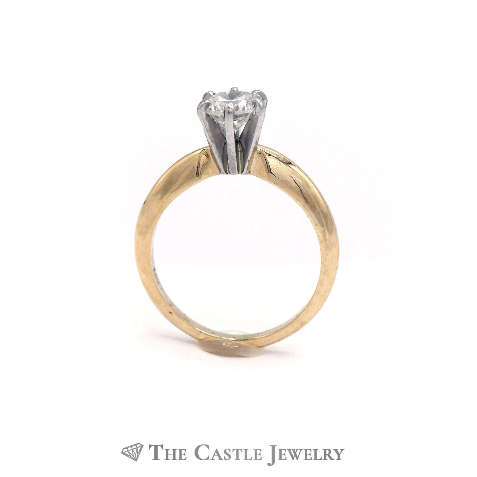 Round Brilliant Cut Diamond Solitaire Engagement Ring in 14K Yellow Gold-1