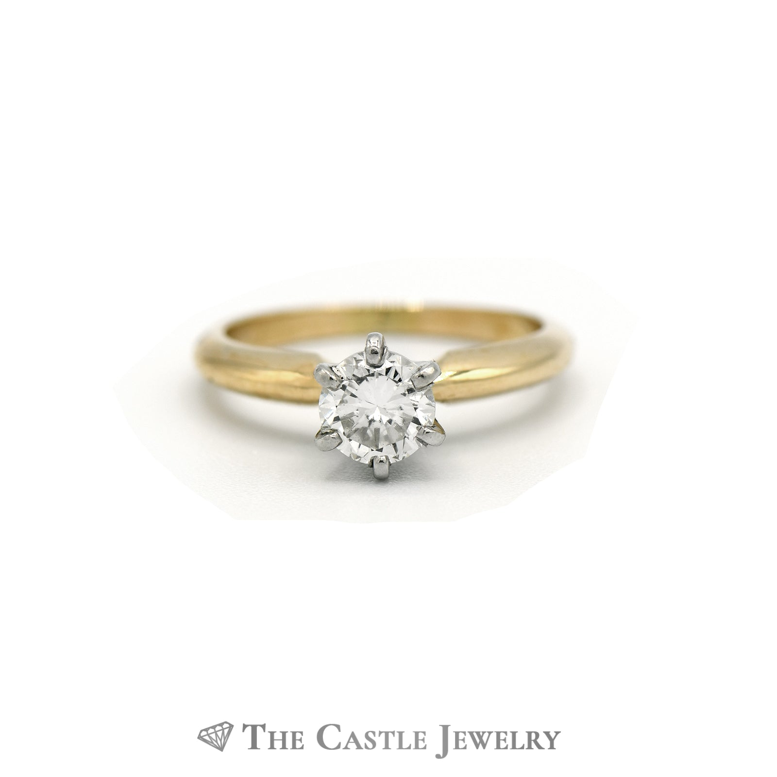 Round Brilliant Cut Diamond Solitaire Engagement Ring in 14K Yellow Gold