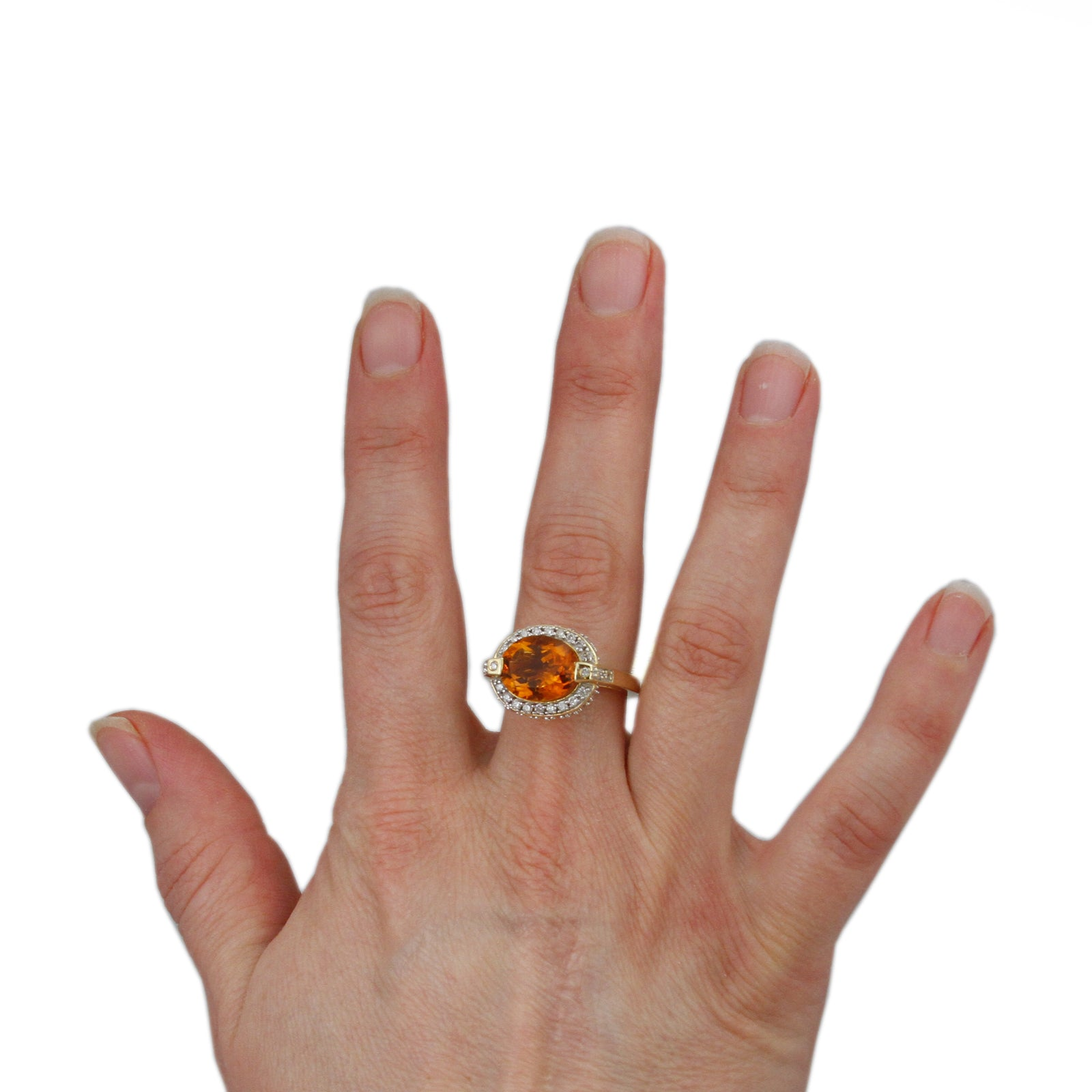 Oval Citrine Ring w/ 1/2cttw Diamond Bezel & Cathedral Mounting in 14k Yellow Gold-3
