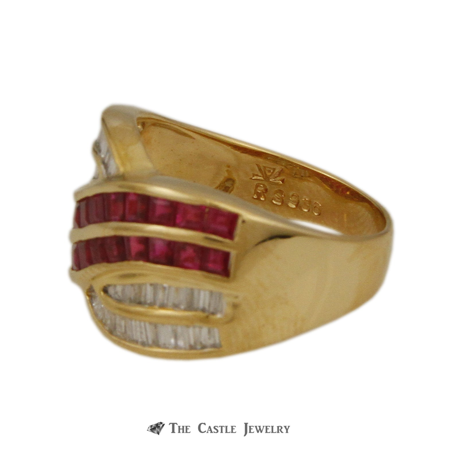 Le Vian Square 1.75cttw Ruby & .50cttw Baguette Diamond Cross Over Style Ring in 18k Yellow Gold-3
