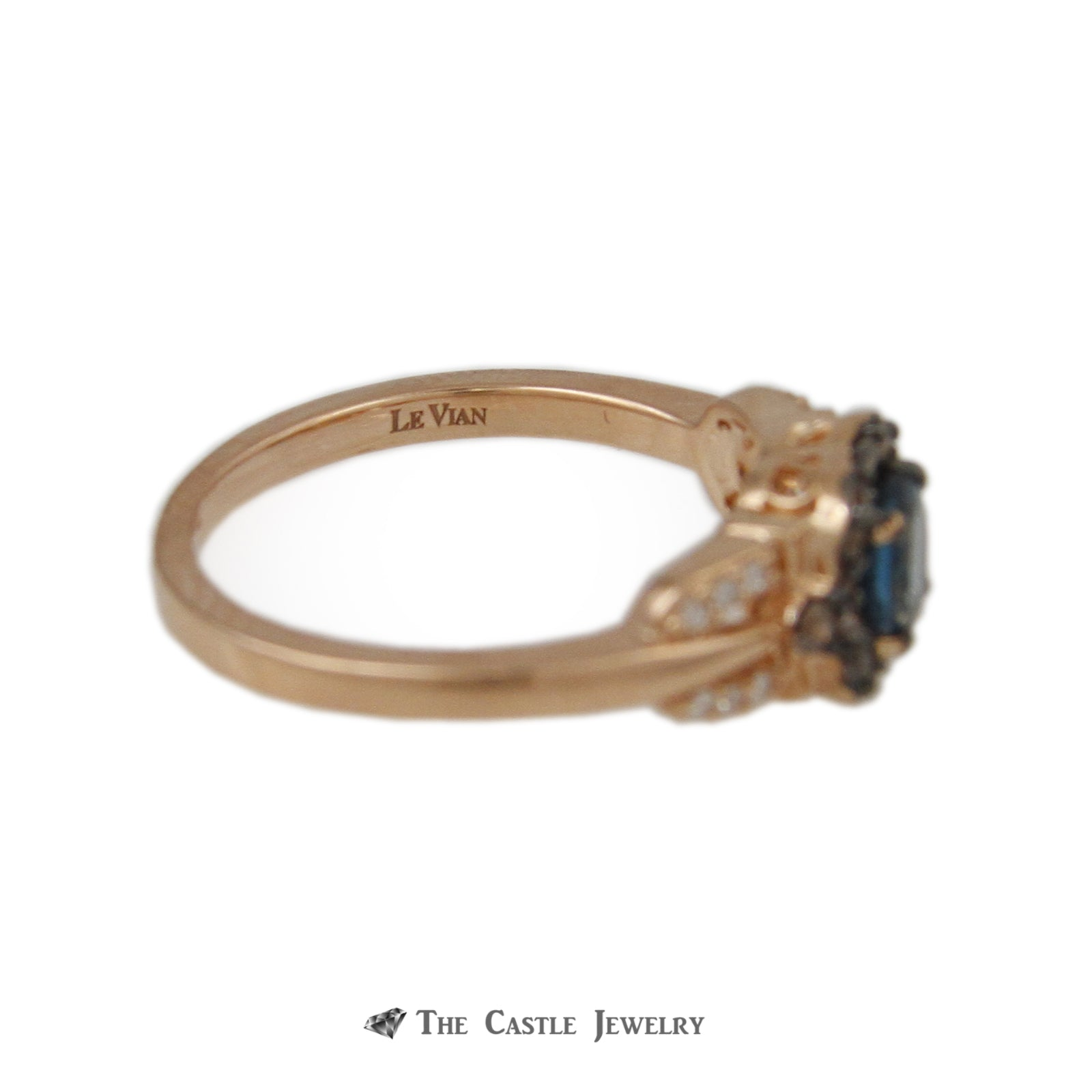 Le Vian Round Topaz Ring Chocolate Diamond Bezel & Sides in 14k Strawberry Gold ™-2