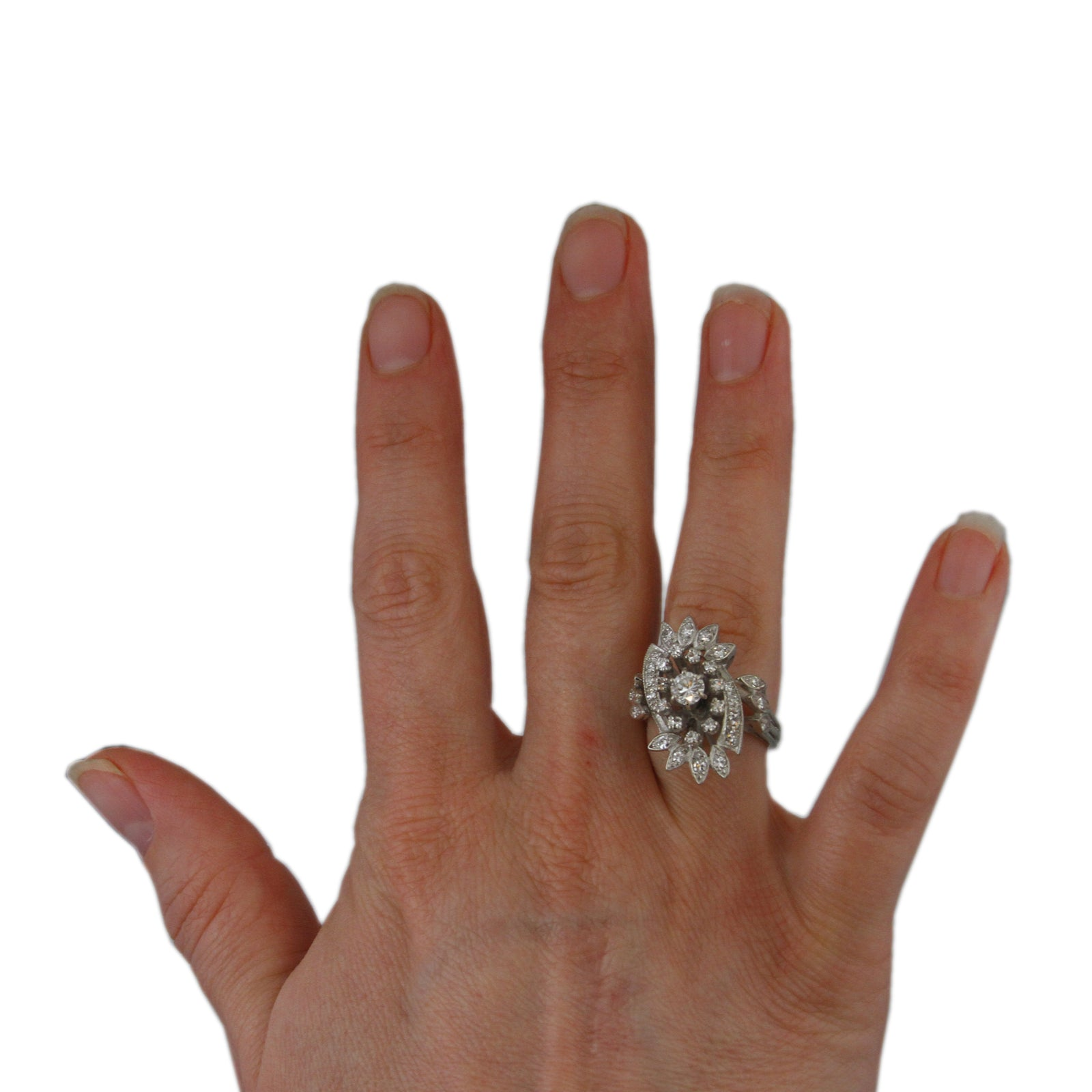 Antique Diamond Ring with Single Cut Diamond Accents & Fancy Oblong Mounting in White Gold
