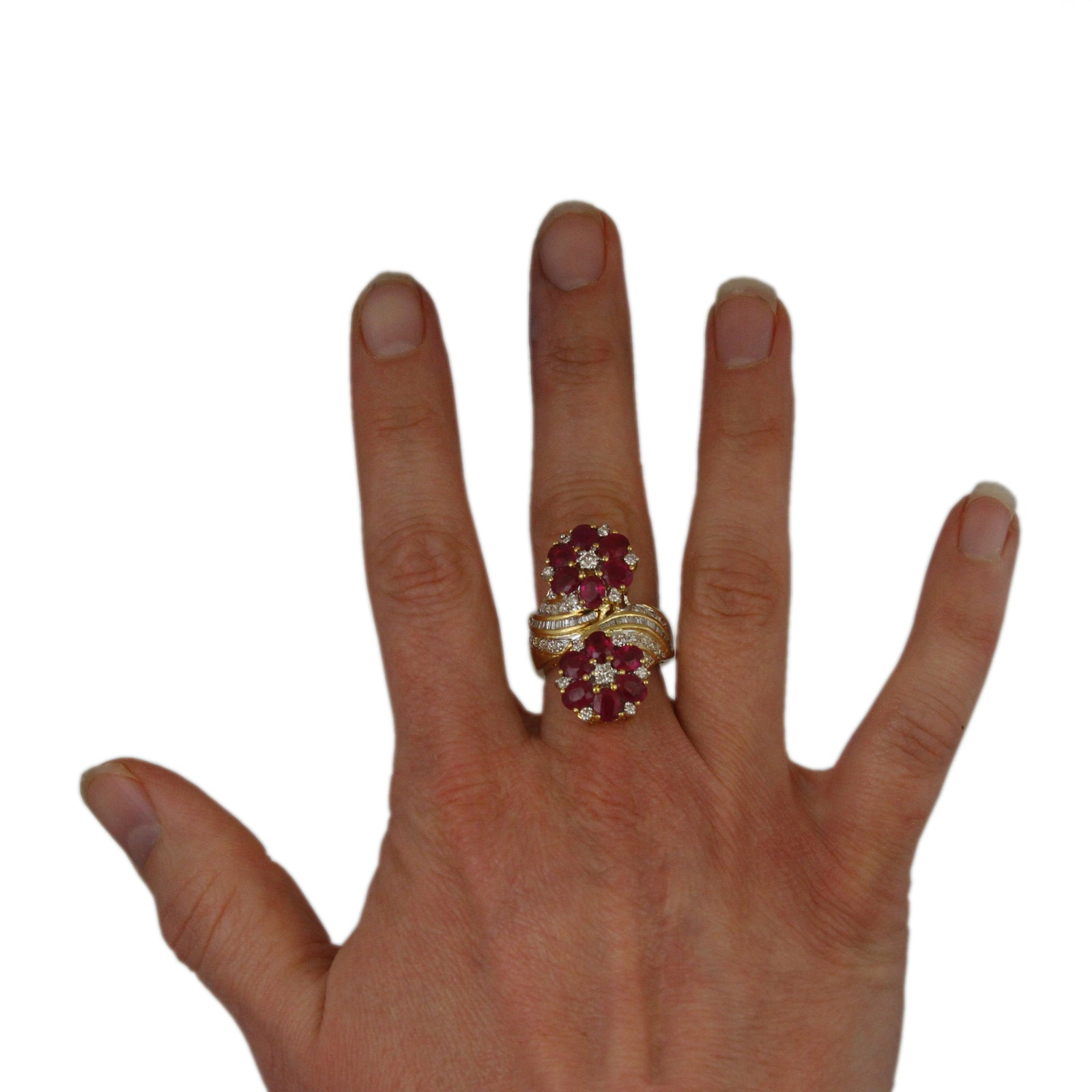 Antique Double Ruby Cluster Flower Ring Diamond Accents 18K Yellow Gold-3