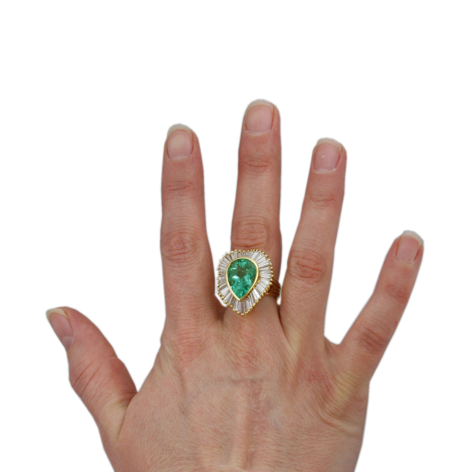 Pear Shaped 6.50ct Emerald Ring with Wavy 5.50cttw Baguette Halo-3
