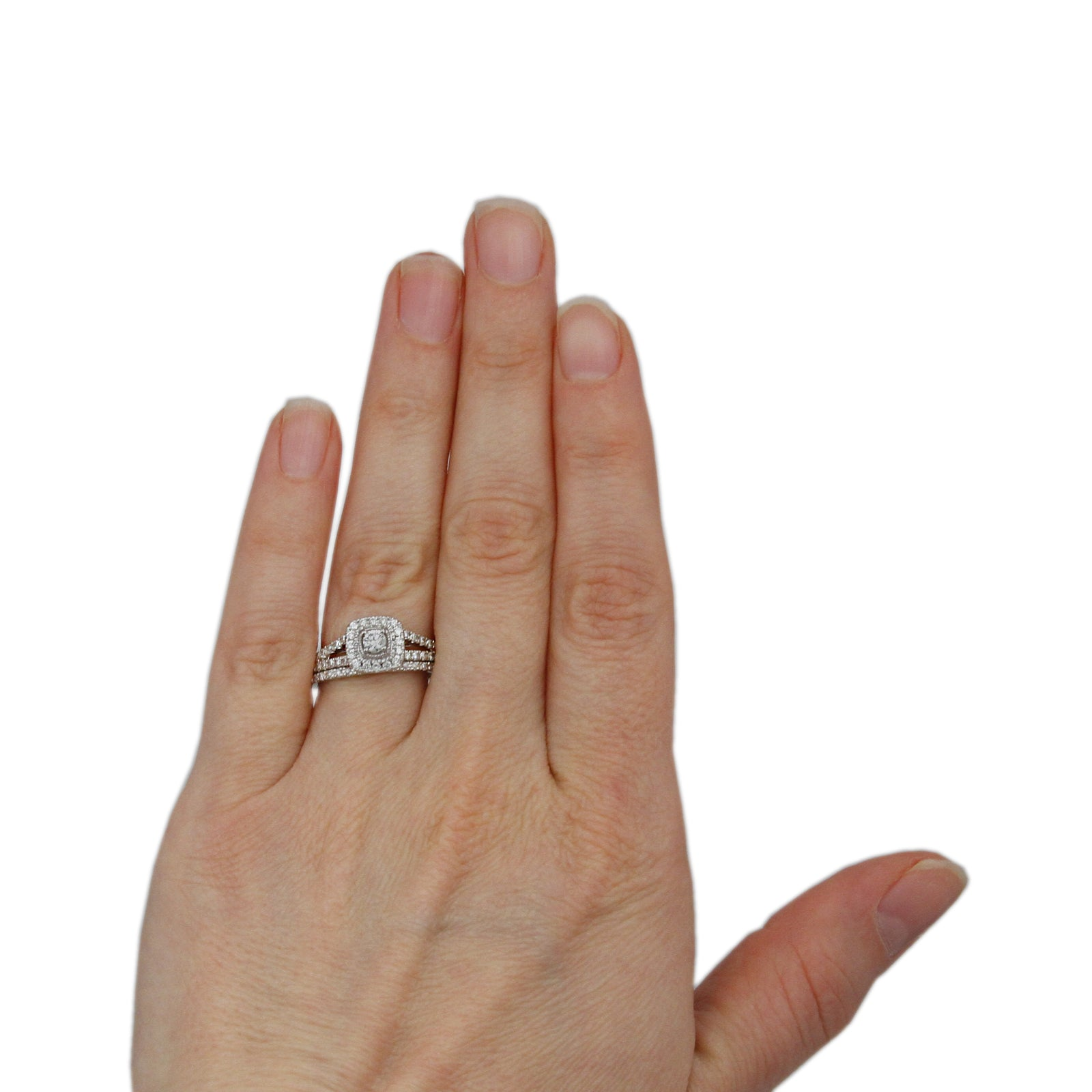 SPECIAL! Crown Collection .50cttw Bridal Set w/ Round Diamond Center & Cushion Shaped Bezel in 14k-2